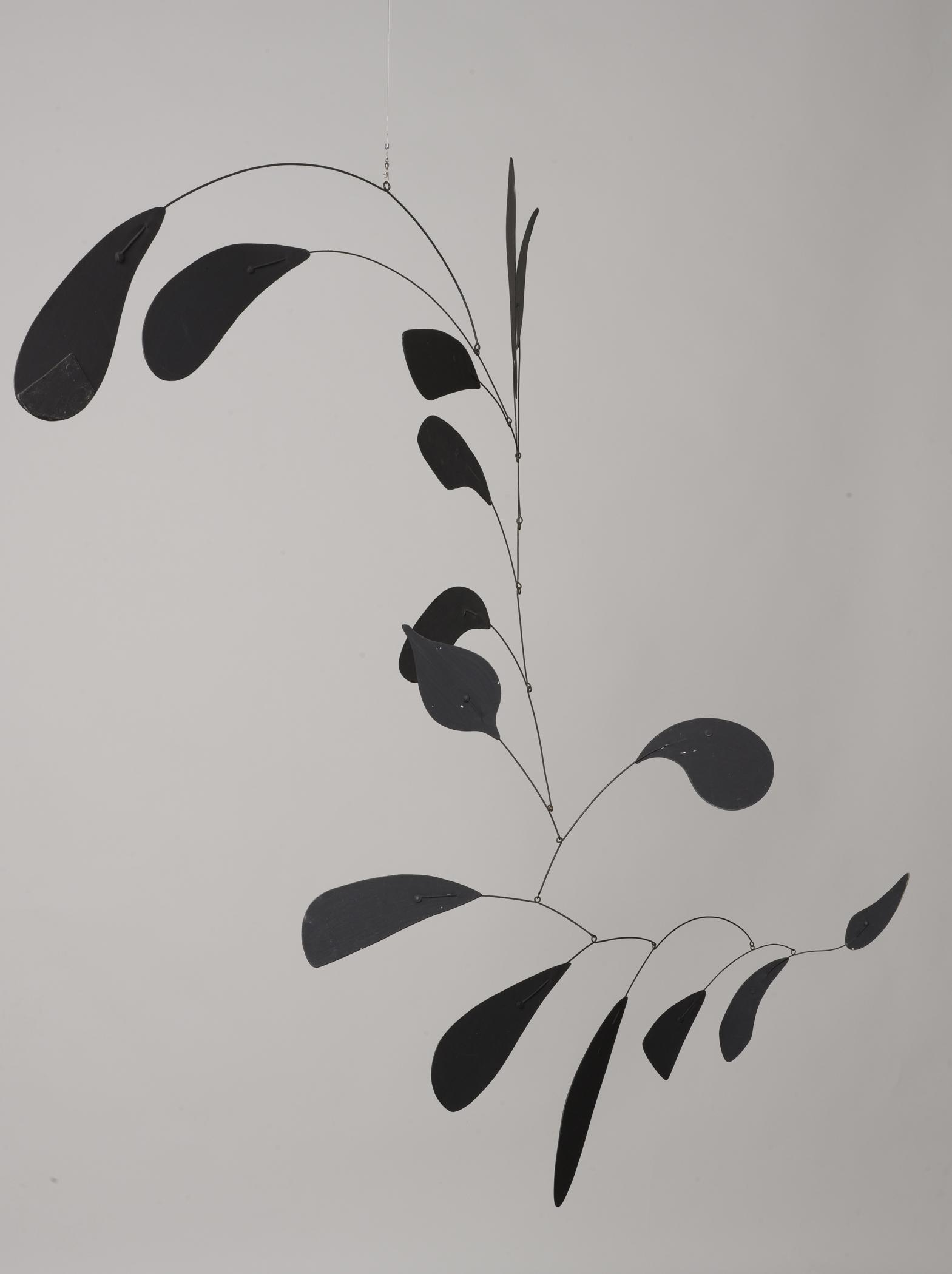 A black mobile made of wire and metal is suspended in air. The tips of the wire are adorned with leaf-like appendages.