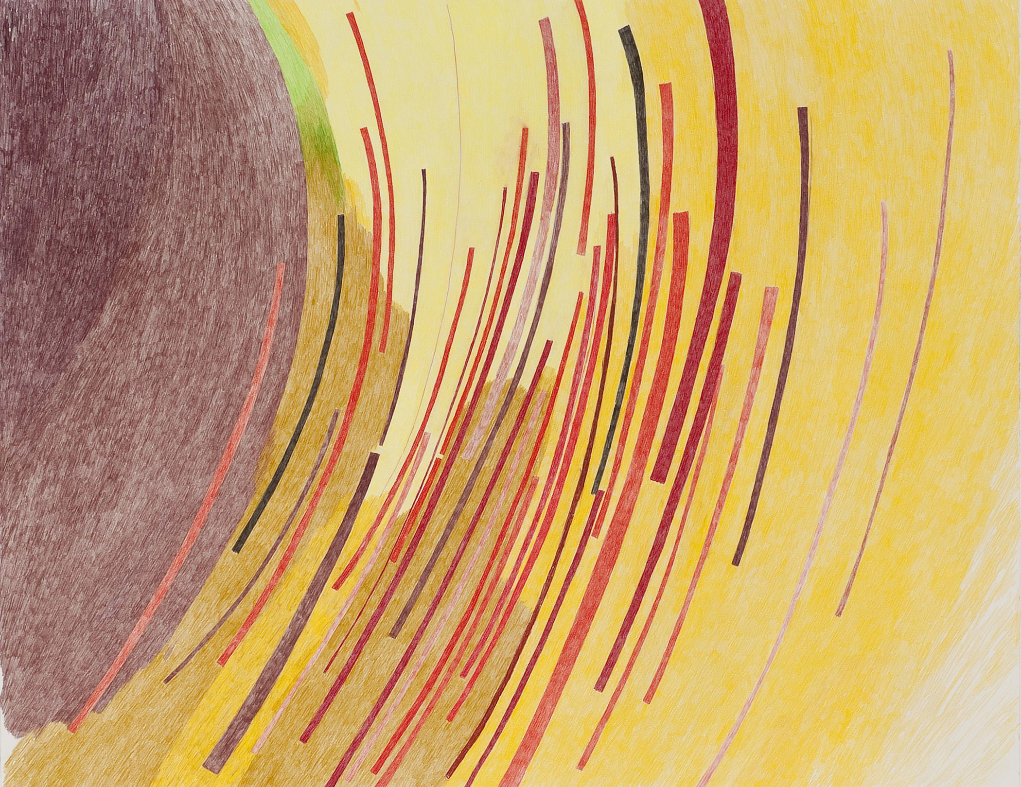 A drawing shows several slightly curved lines in various shades of red and pink on a yellow and brown background.