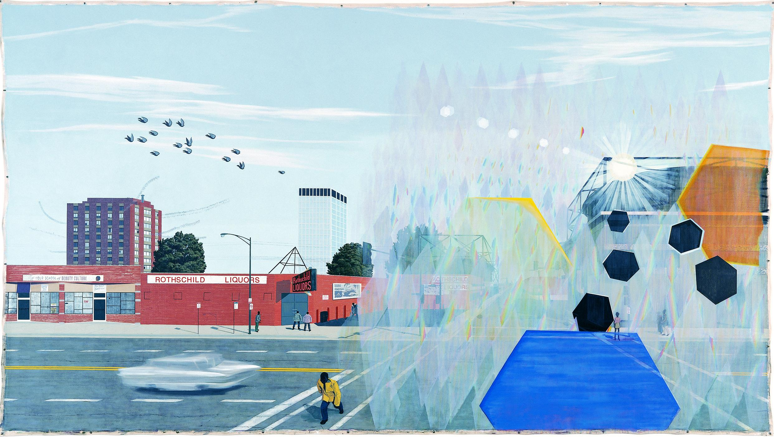 A colorful landscape painting shows a city intersection.