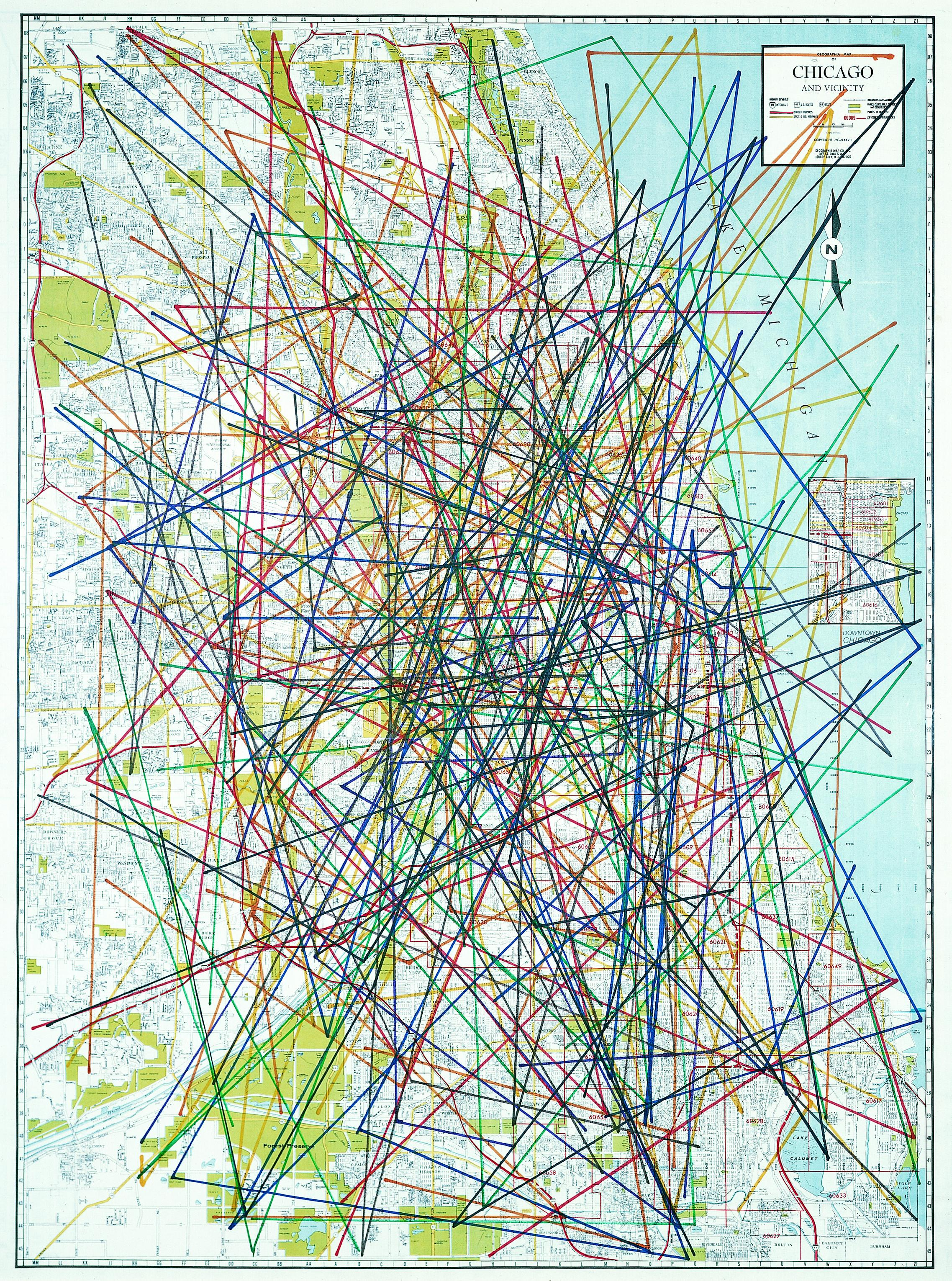 A map of the Chicagoland area is crisscrossed by many dozens of multi-colored marker lines.
