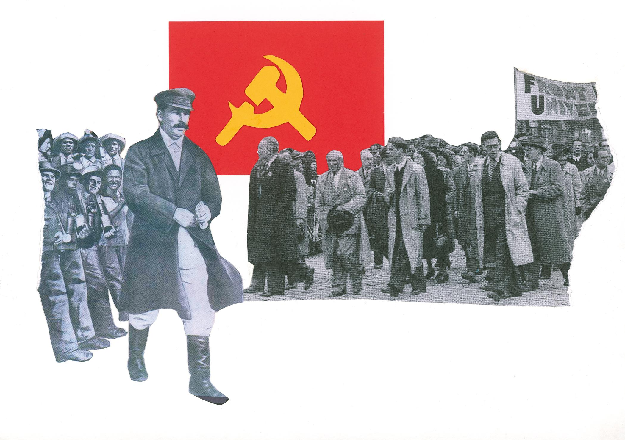 A collage image features Joseph Stalin walking, a group of soliders smiling, and a crowd of people marching, carrying sign—all juxtaposed against the red and yellow Communist flag.