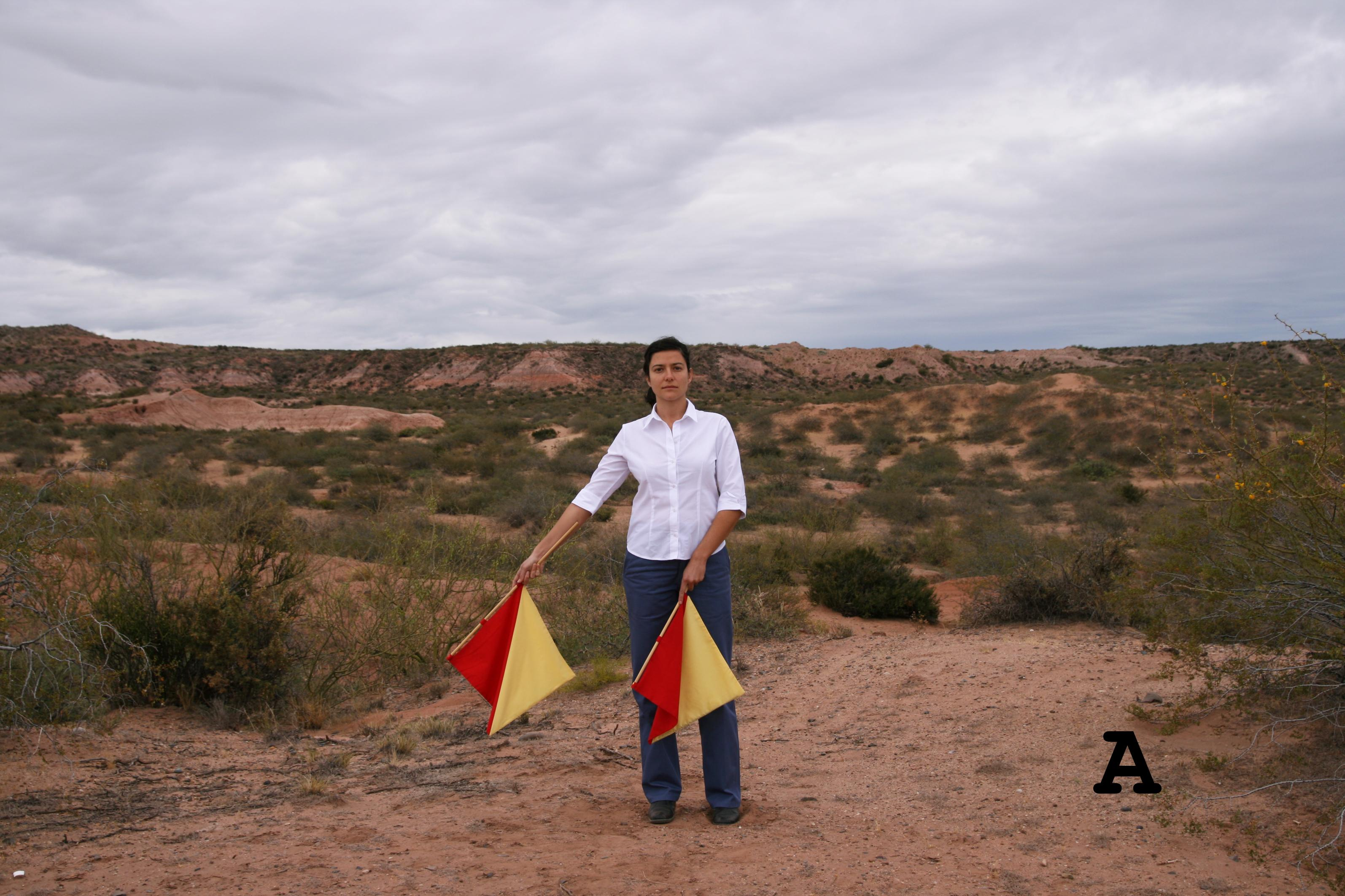 A person stares at the viewer while holding two flags in the desert.