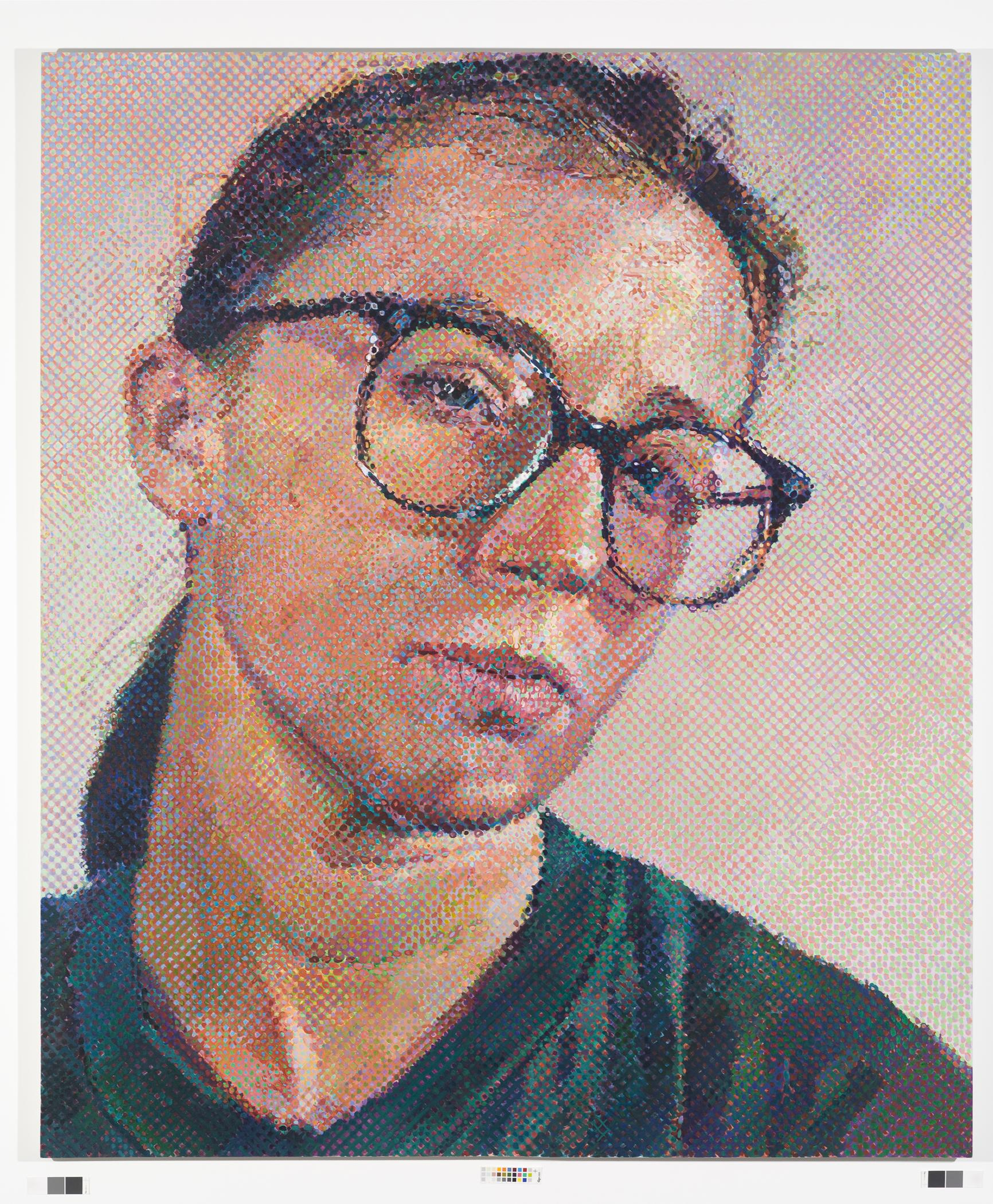 A painting shows a light-skinned person with dark hair pulled into a low ponytail behind their head wearing glasses and a dark green shirt.
