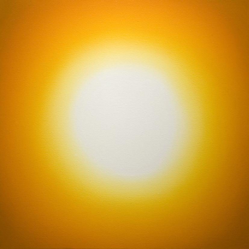 A yellow, glowing orb is surrounded by orange.