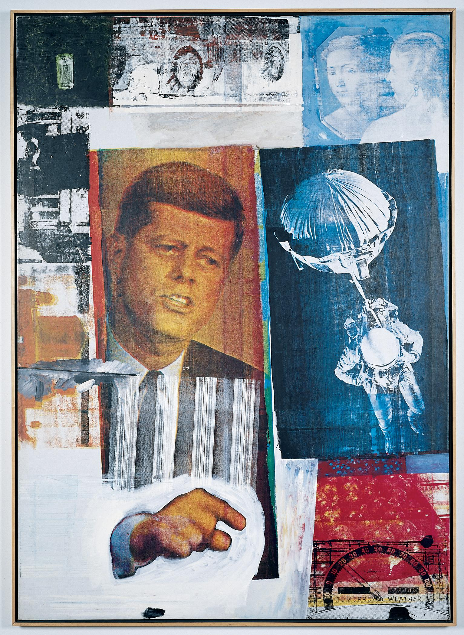 An image of John F Kennedy, painted in orange colors, points to the right toward a blue image of a person in a space suit with a ball-shaped object strapped to their back.
