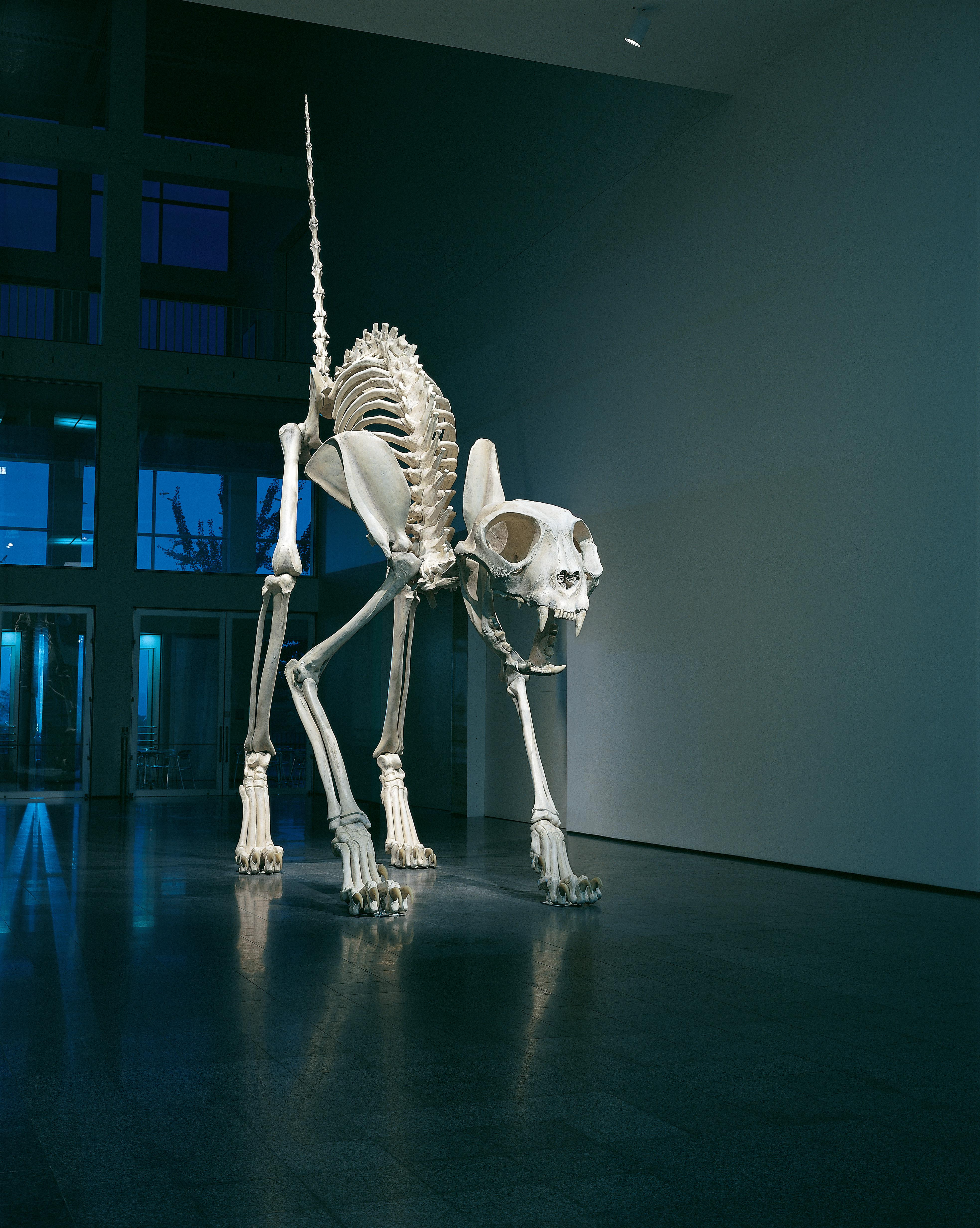 A gigantic cat skeleton stands in the center of a large atrium with its back arched and its tail pointed straight up in the air.