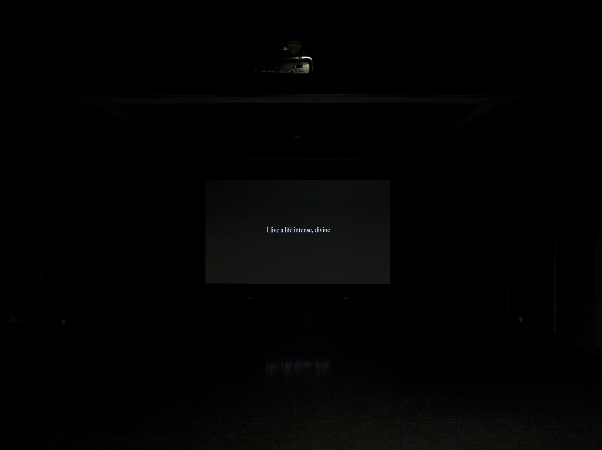 """A black screen that bears white text reads """"I life a life intense, divine."""""""