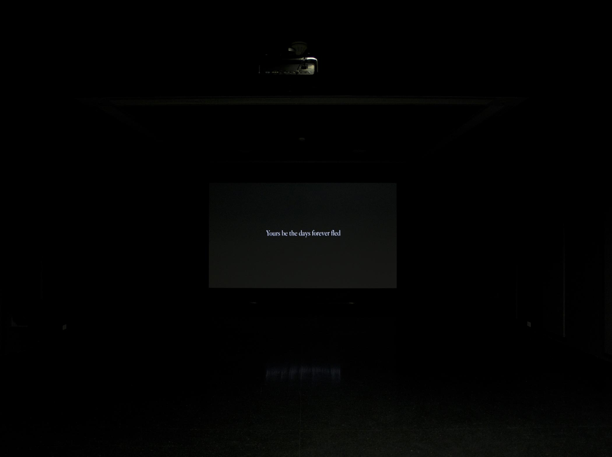 """A black screen that bears white text reads """"Yours be the days forever fled."""""""
