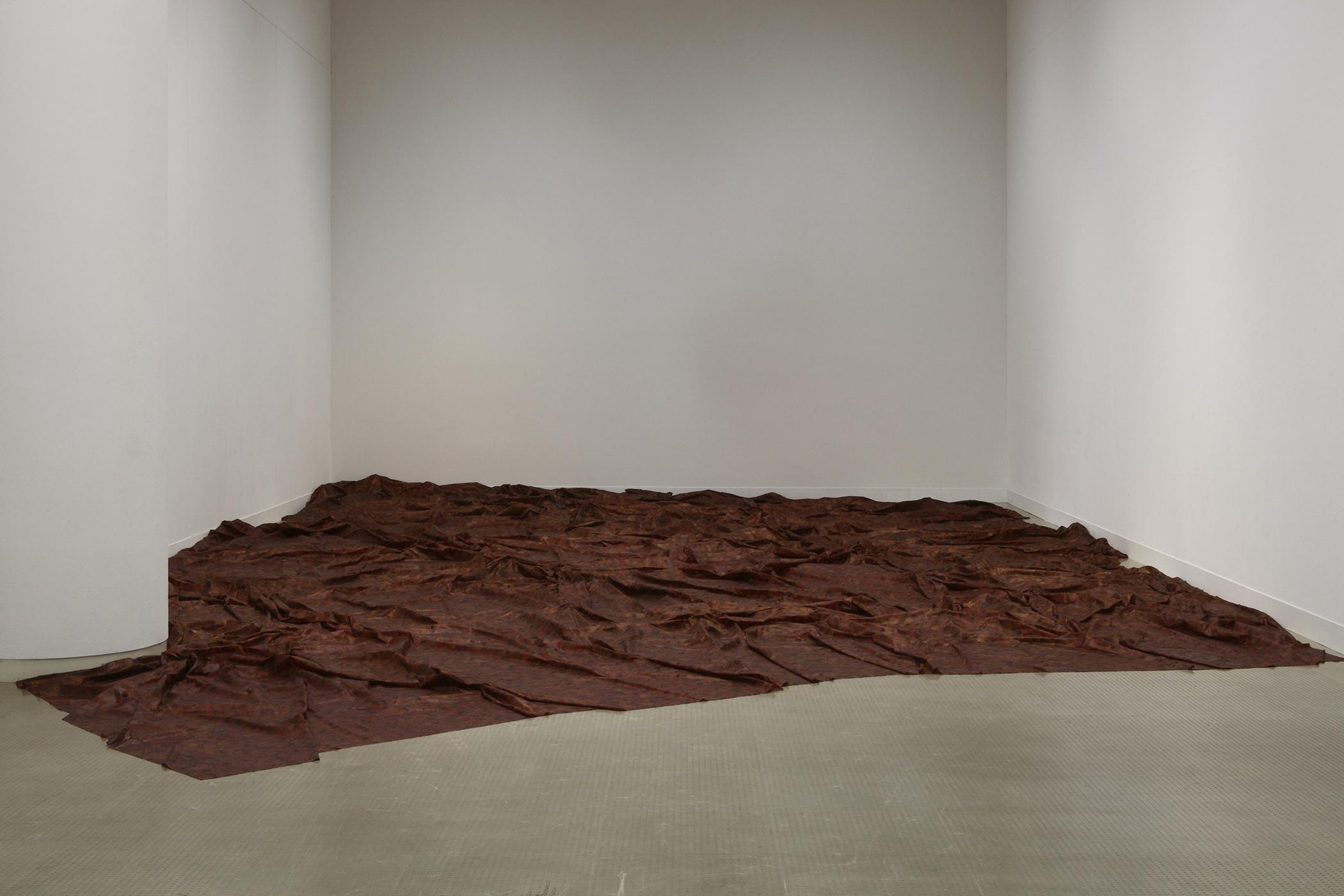 The floor of a room is covered by a brown-red fabric with many folds in it.