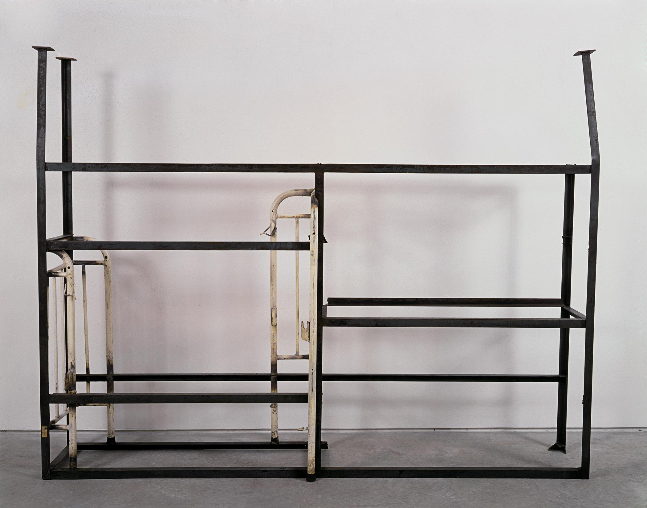 Several metal frames are welded together in an unexpected way.