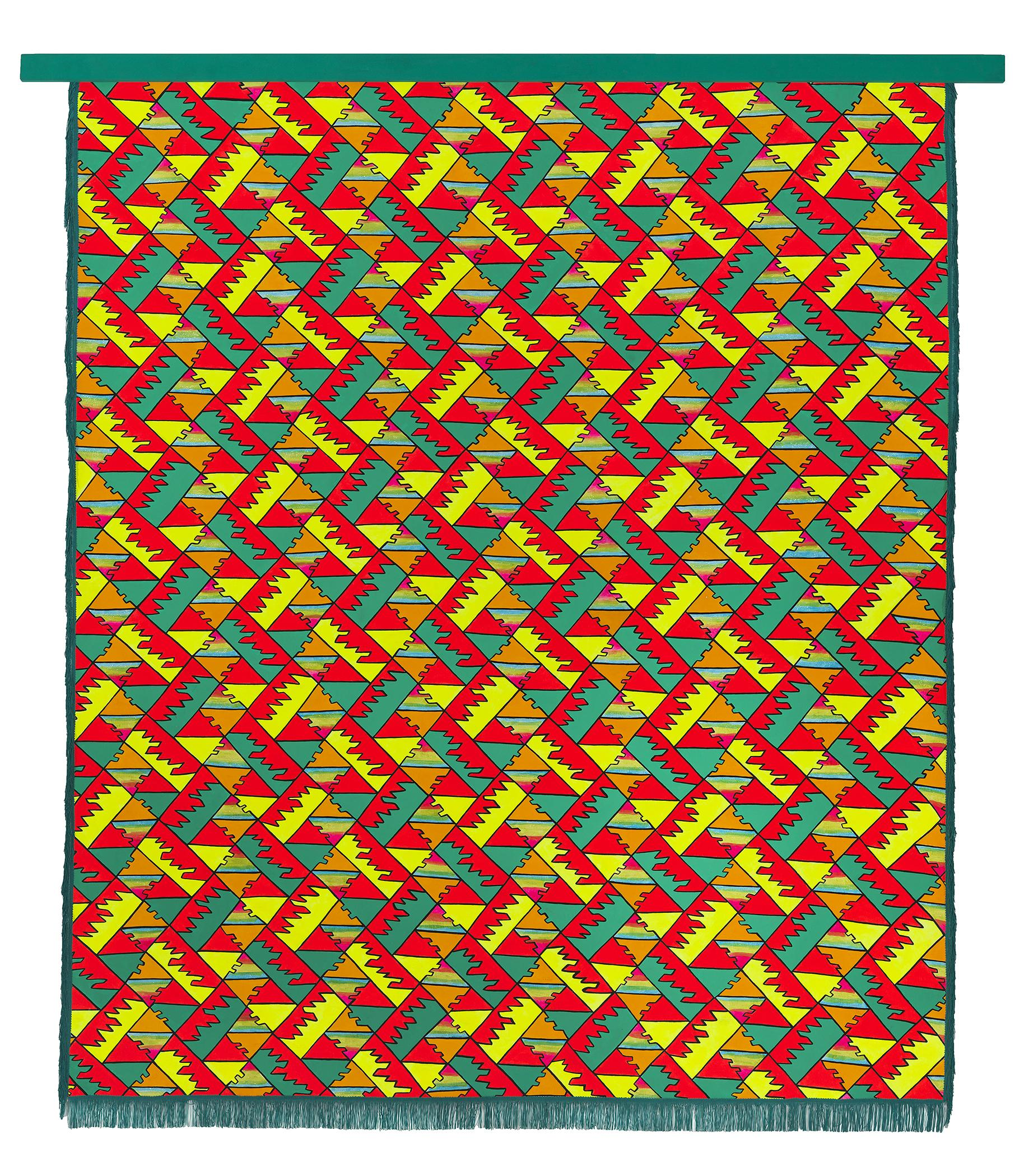 A painting of a geometric pattern features interlocking neon shapes in red, orange, blue, yellow, and teal.