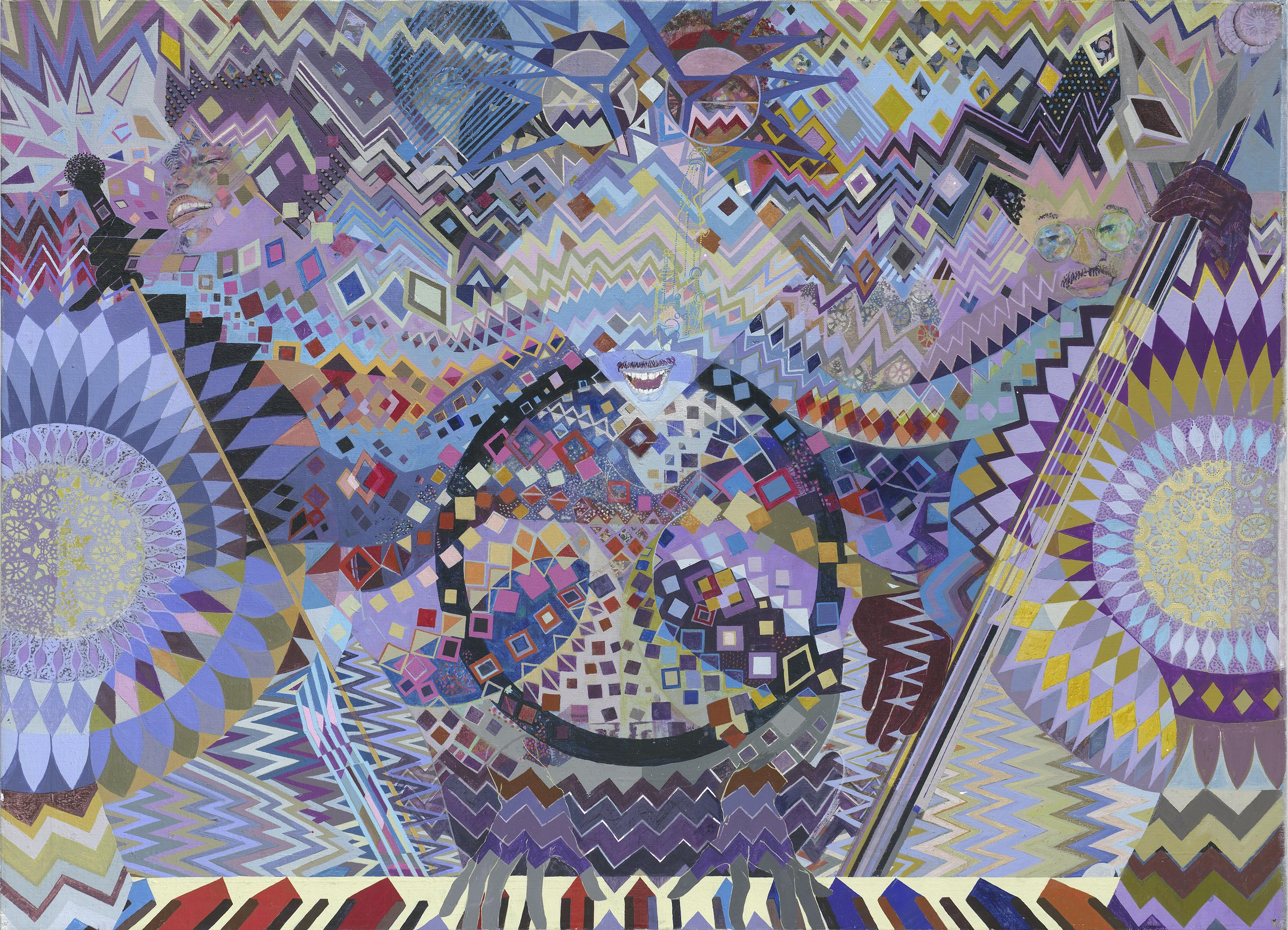 A colorful image composed of geometric shapes and patterns reveals a camouflaged trio of musicians. One sings, one plays piano, and the third strums a string bass.