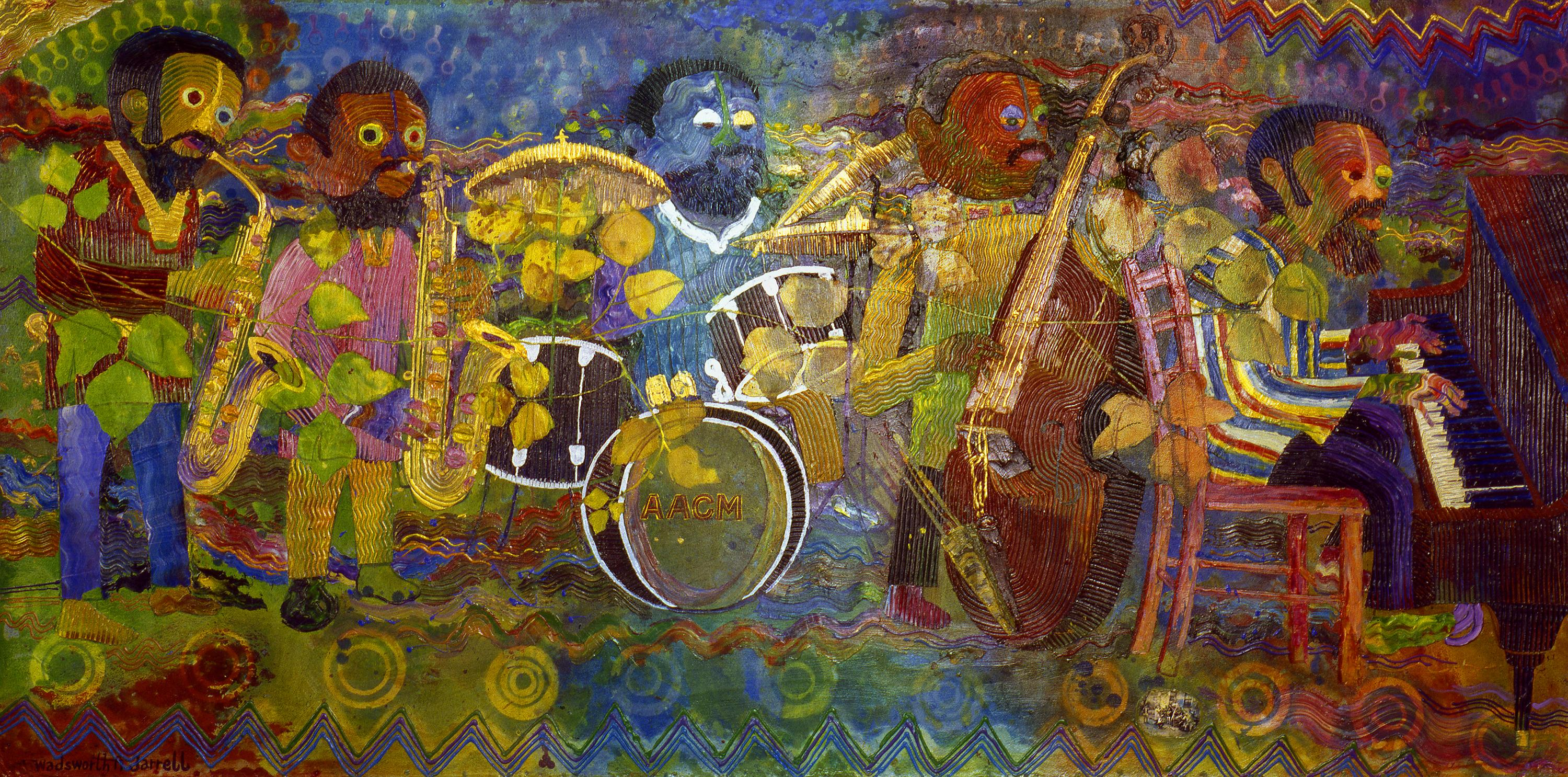 In this multicolored painting, a quintet plays two saxophones, a drum kit, a string bass, and a piano on a two-dimensional background with repeating zigzags and circular targets.