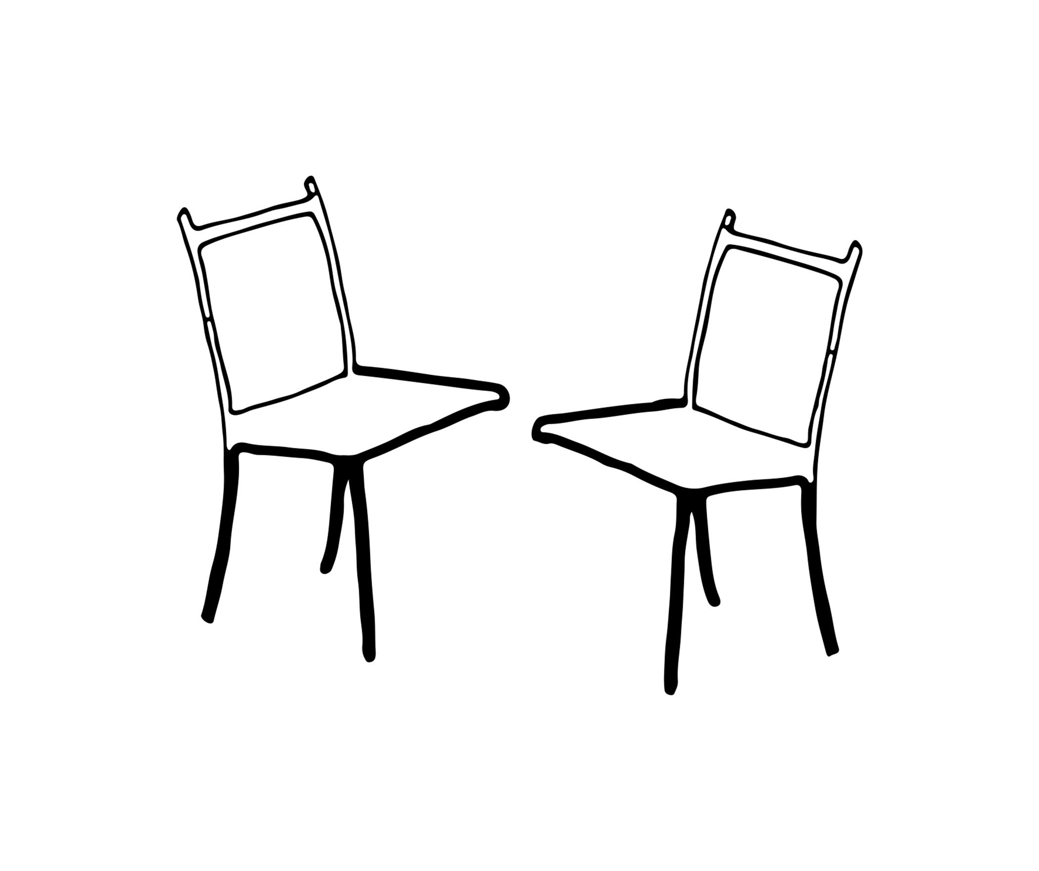 A digital sketch shows two three-legged chairs facing one another.