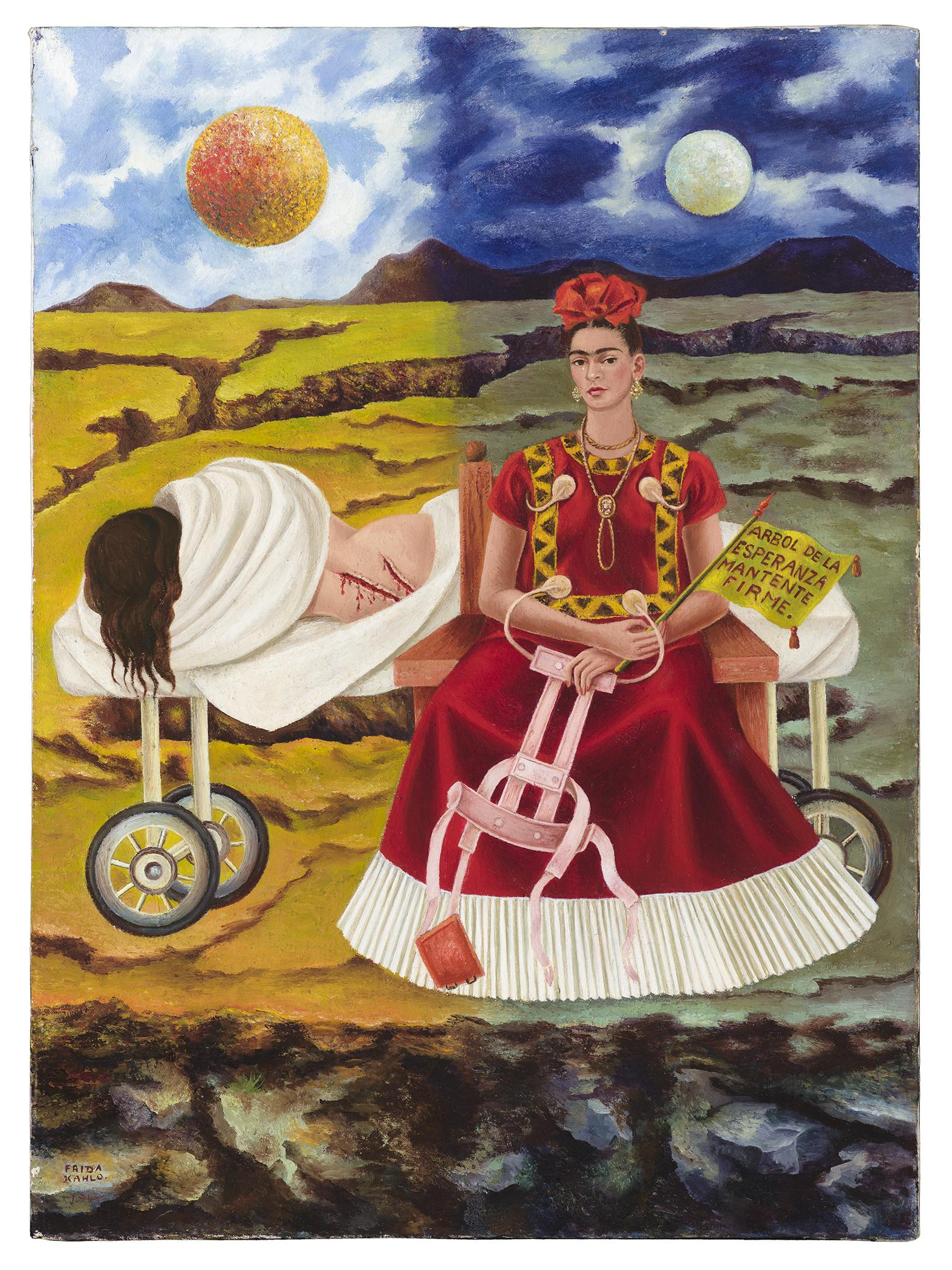Vivid painting of a desert landscape, which is divided in half by day and night, and two women in the foreground—one seated wearing an elaborate red dress, the other lying on a cart nude, wounded, and wrapped in a white sheet
