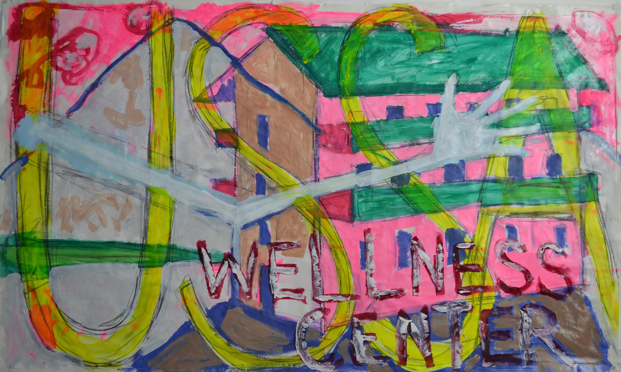 """Vivid mixed media painting of a building and mountain partly obscured by a disembodied, floating arm as well as the texts """"USSA"""" and """"WELLNESS CENTER"""""""