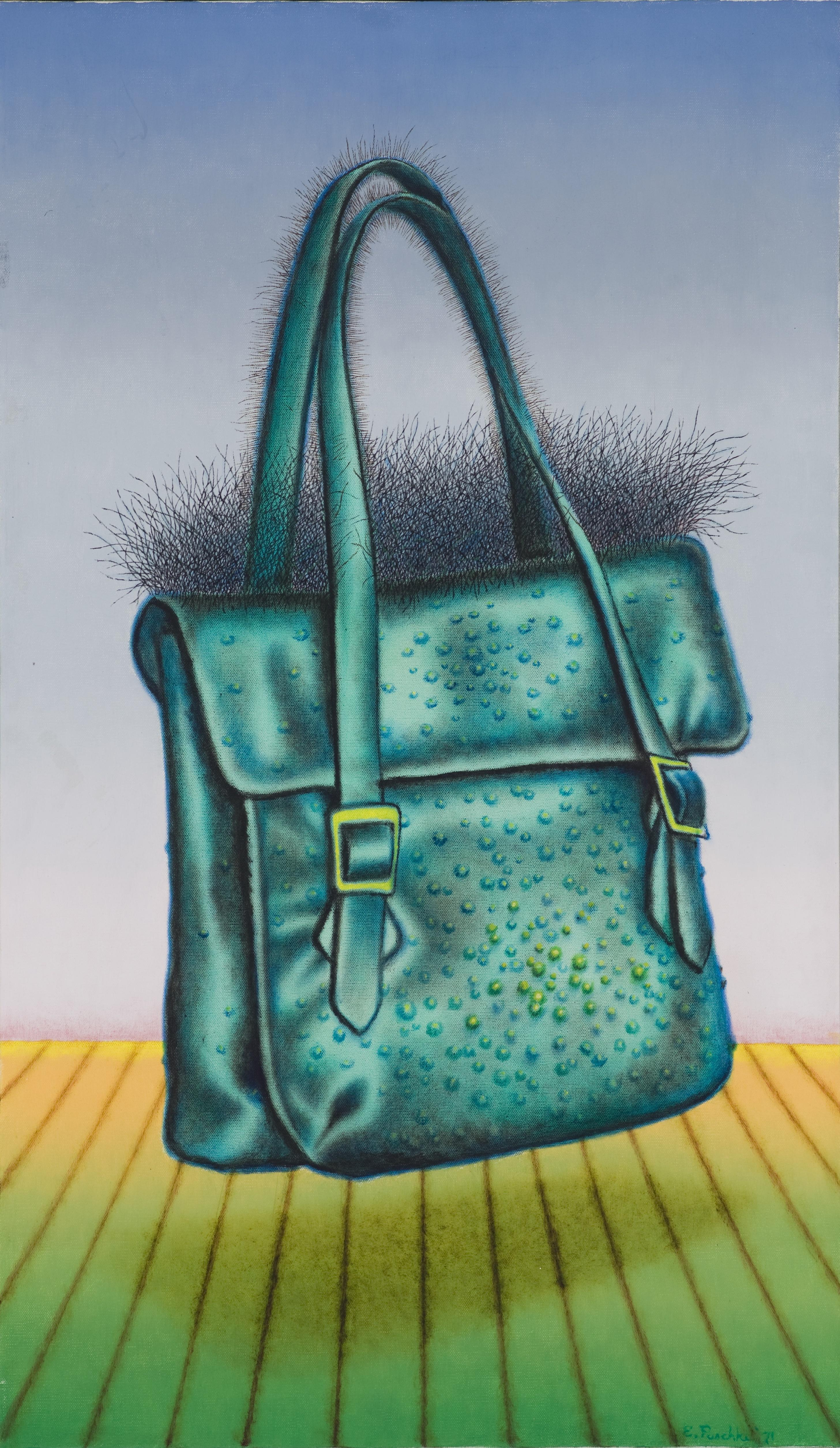 A vivid painting depicts a bumpy and hairy purse that levitates above a slatted floor in front of a faded blue background.