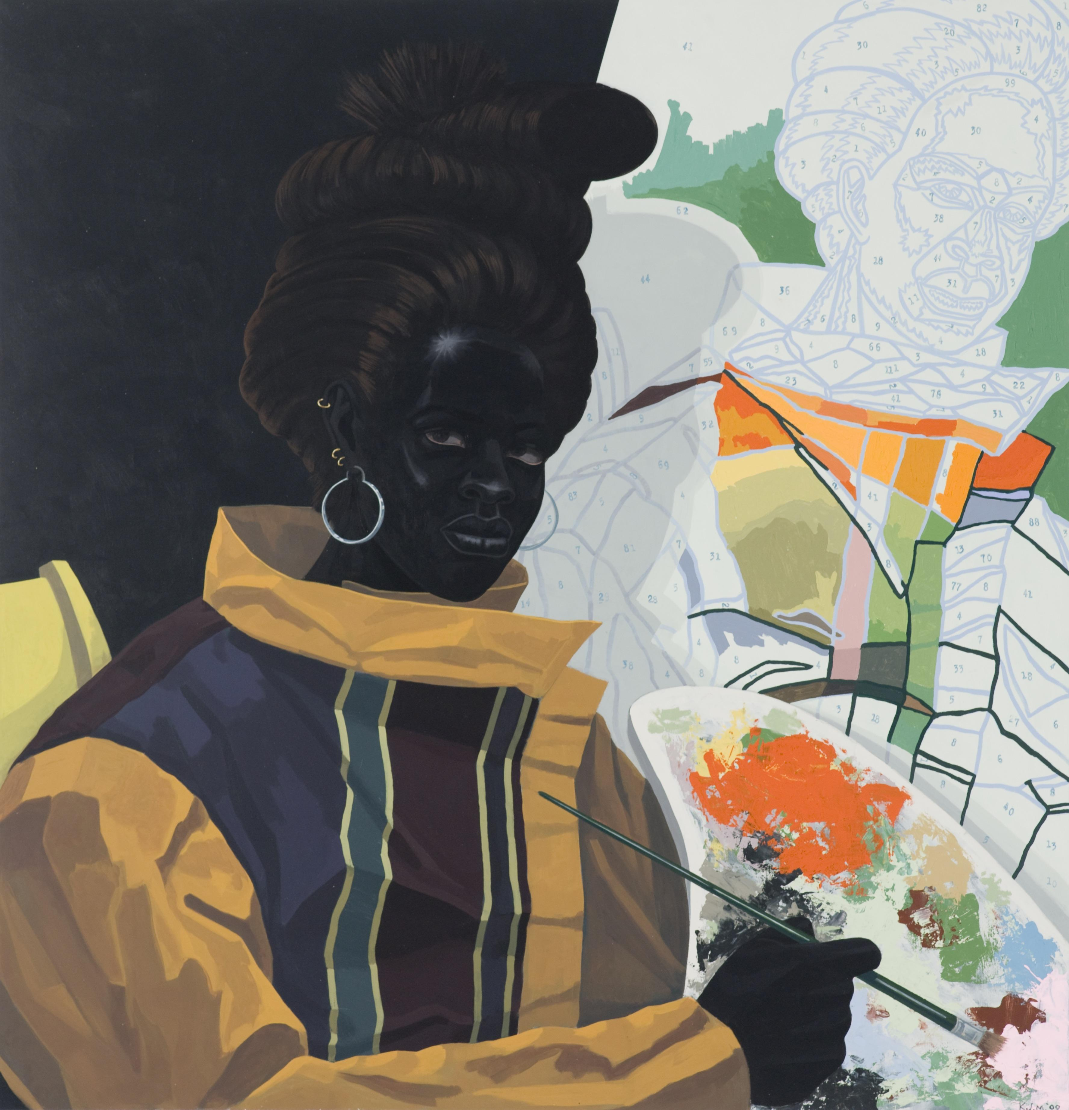 In this painting, a woman painter holds a paint palette in front of a paint-by-numbers portrait. Her skin is as black as the as the solid black background; she stares confidently into our eyes.