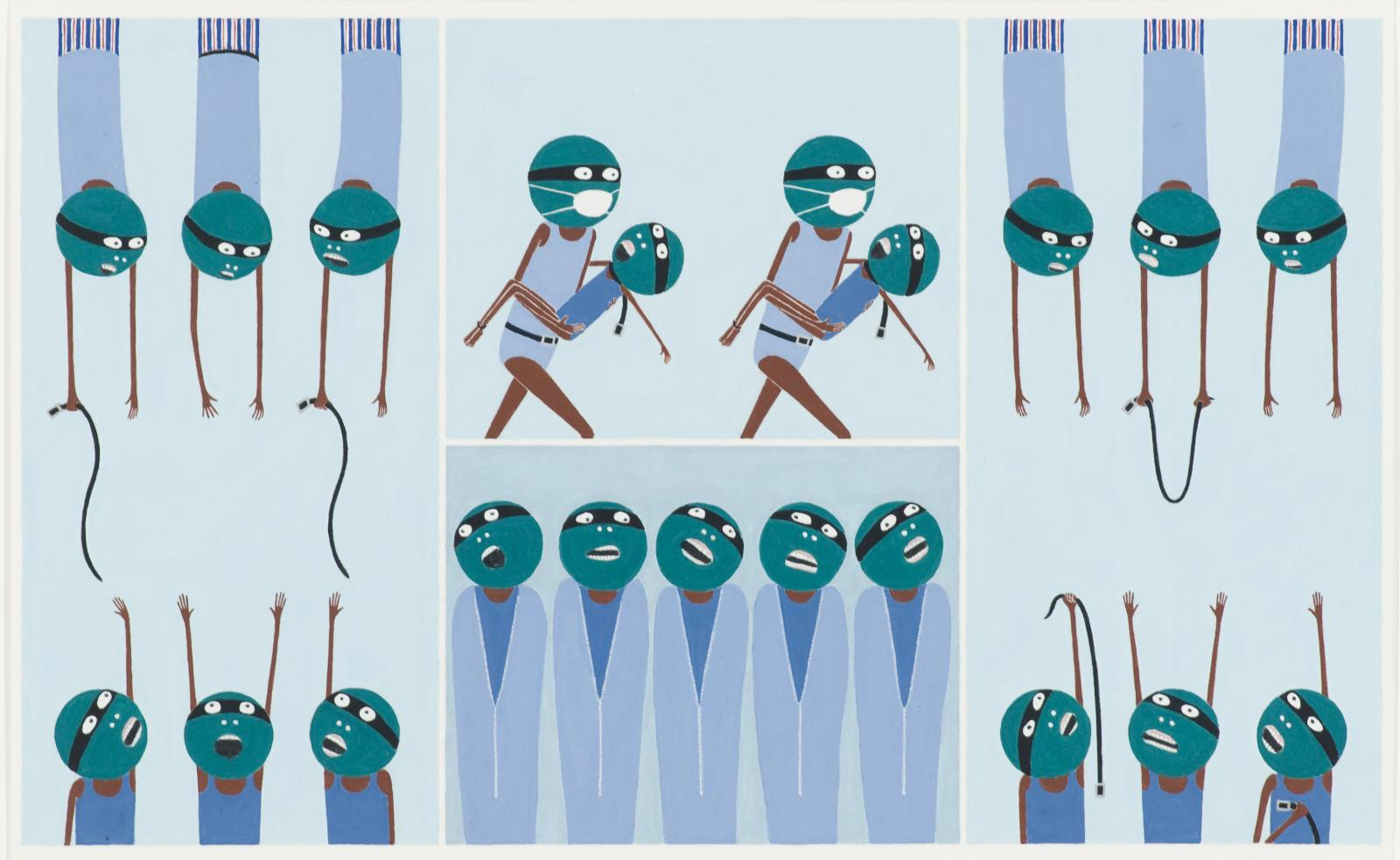 A set of four scenes features 21 green-headed, masked figures with skinny brown limbs. They engage in sinister acts with belts.