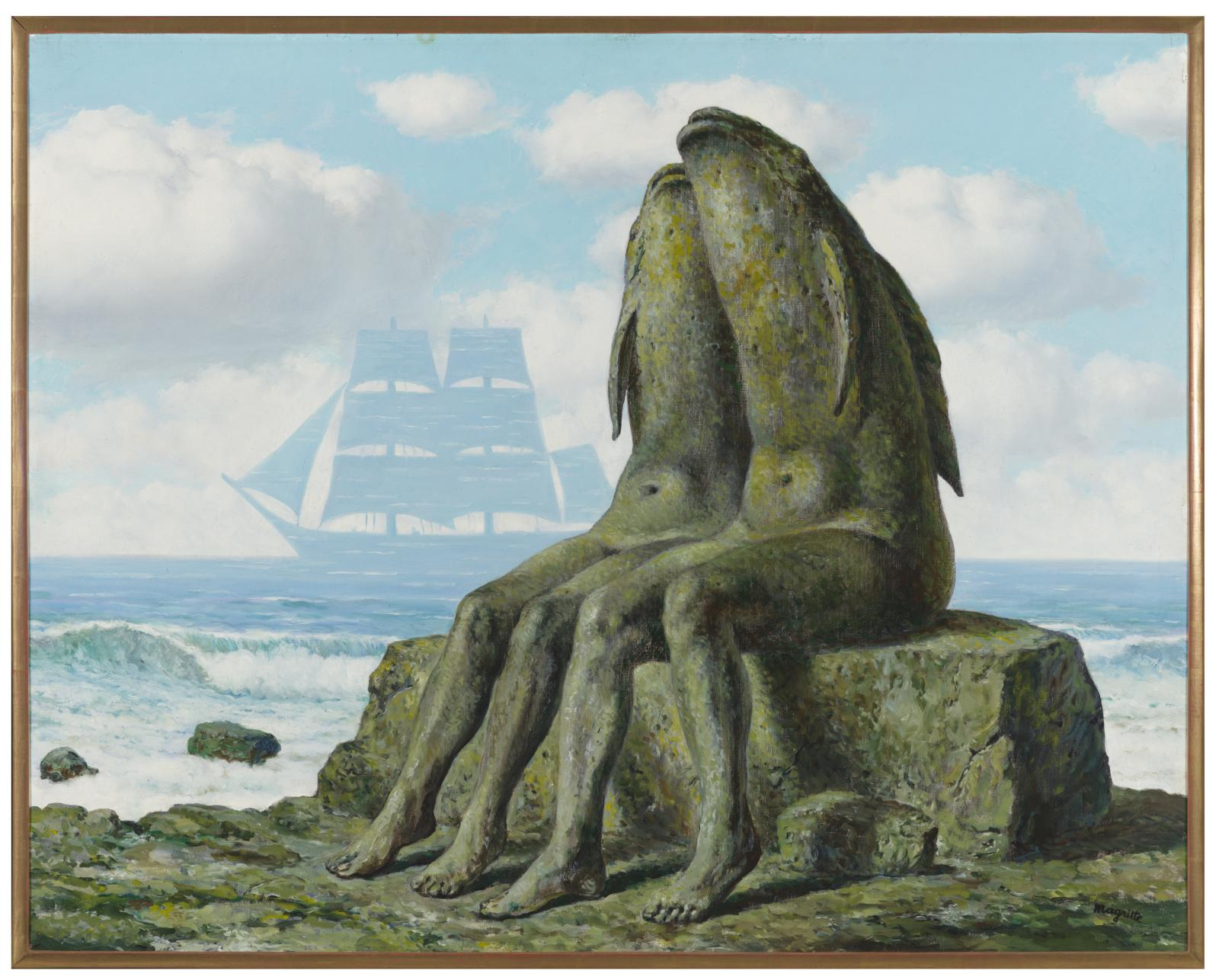 Two mossy stone figures with human legs and fish torsos sit leaning against each other on a mossy stone by the seashore. On the horizon the shape of a double-masted sailing vessel made out of water rises out of the sea and cuts into the blue, cloud-filled sky.