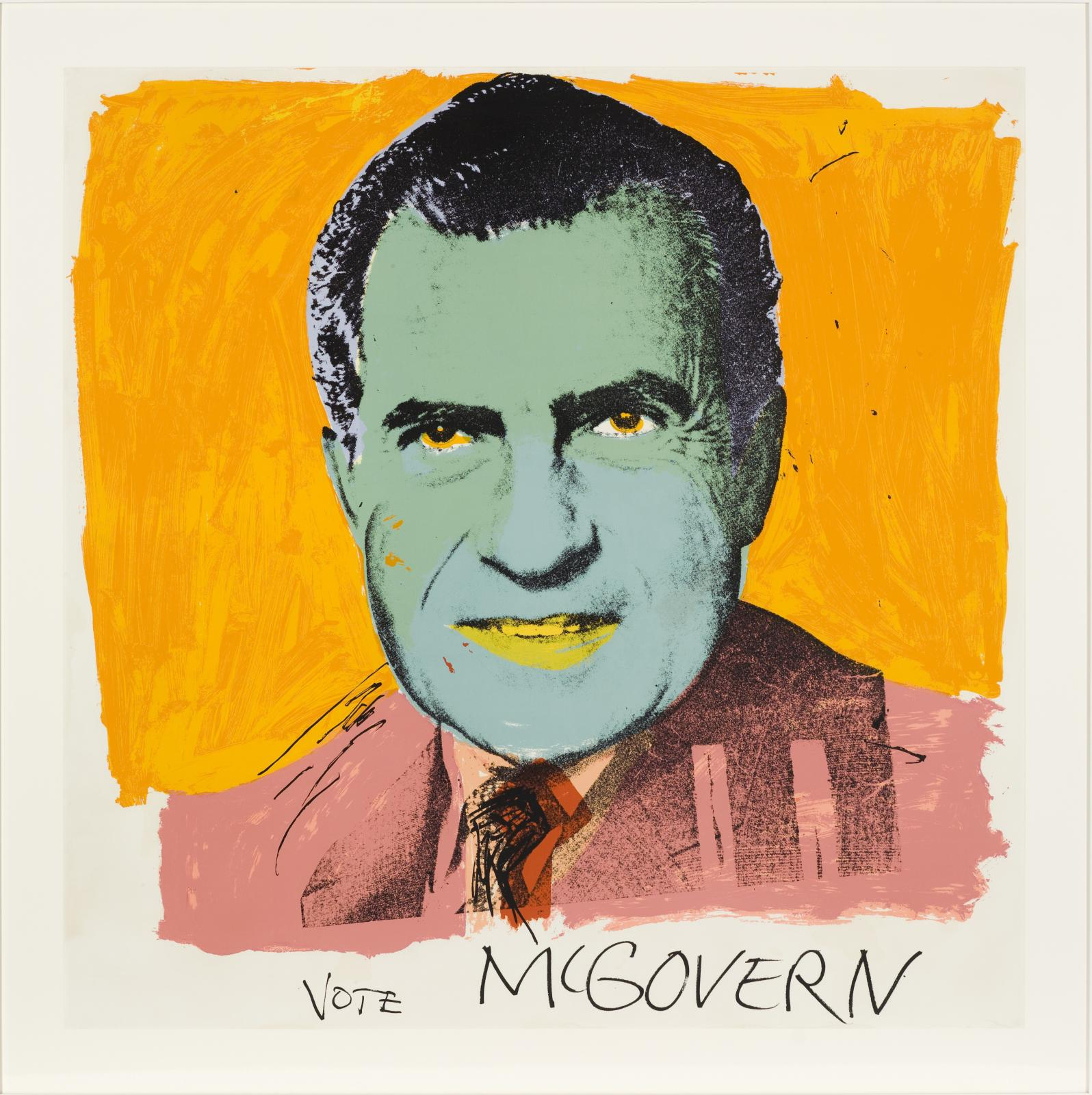 """A portrait of a green-hued Richard Nixon with """"VOTE MCGOVERN"""" hand-written at the bottom."""