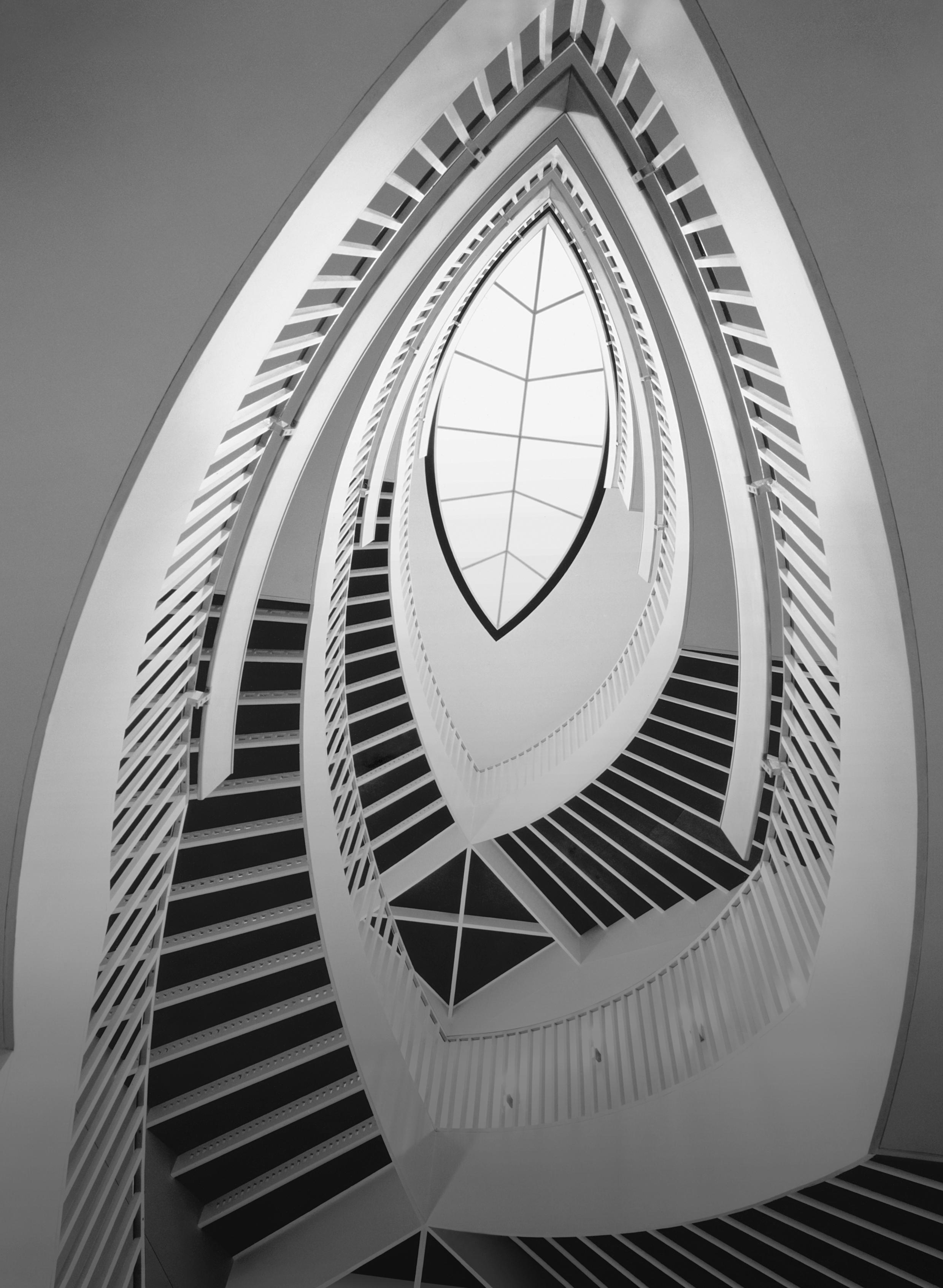 View of the MCA's ovular spiral staircase, from the first floor looking up