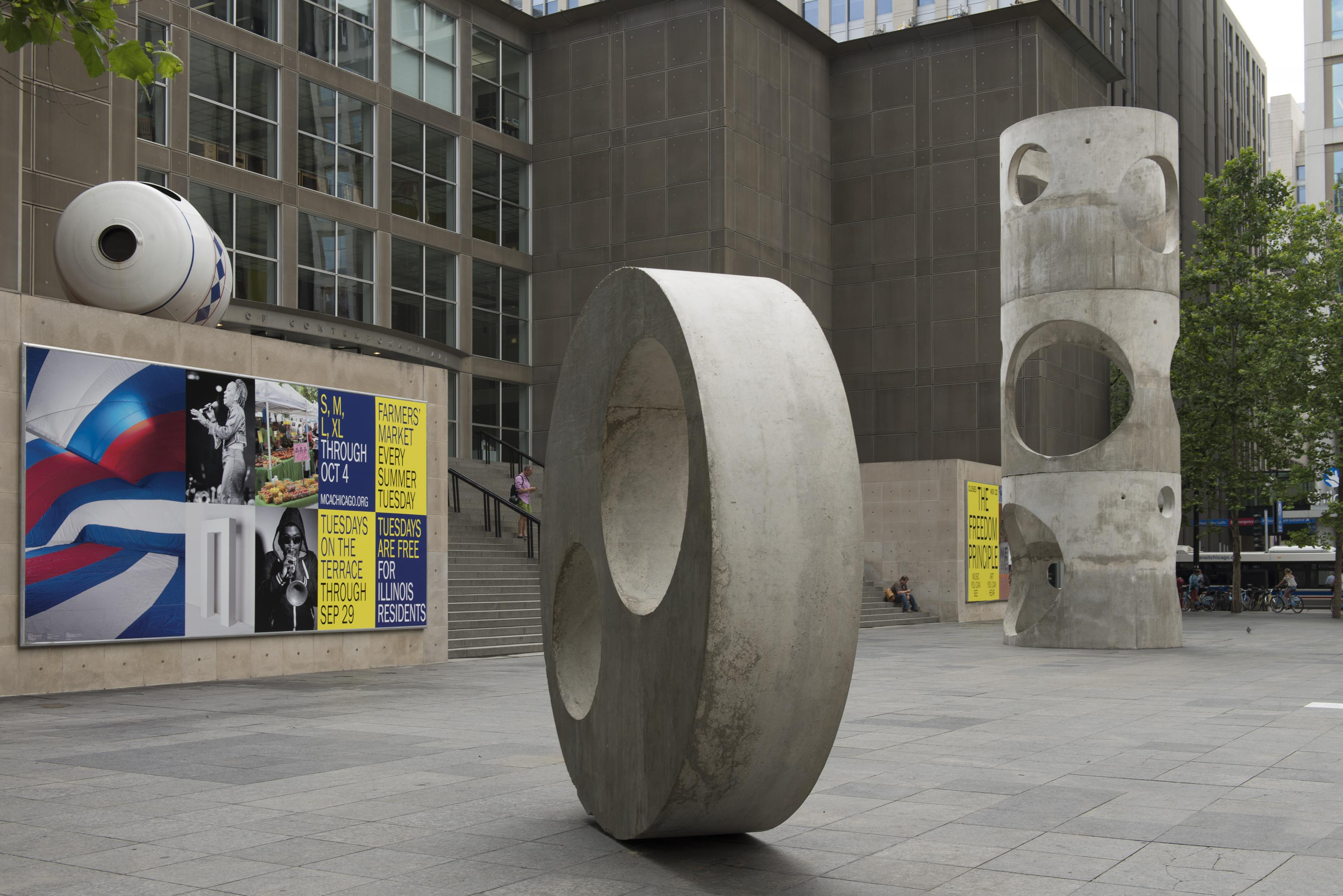 Two large concrete sculptures and on the MCA Plaza