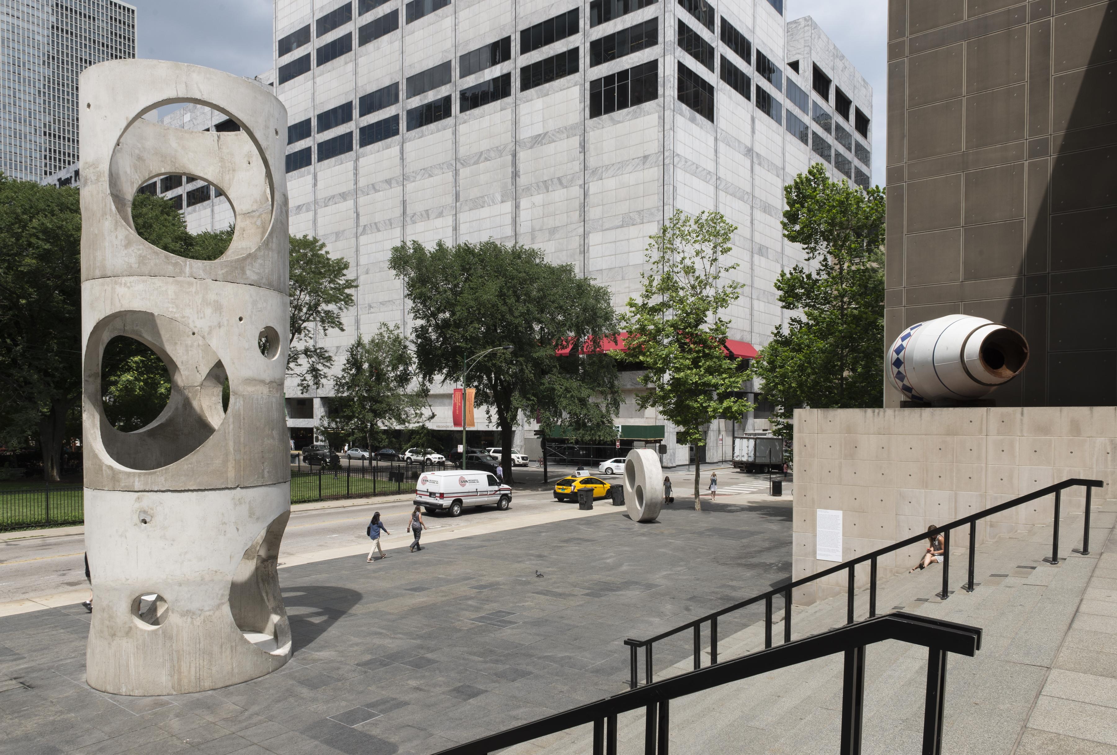 The MCA Plaza with concrete sculptures on a sunny day