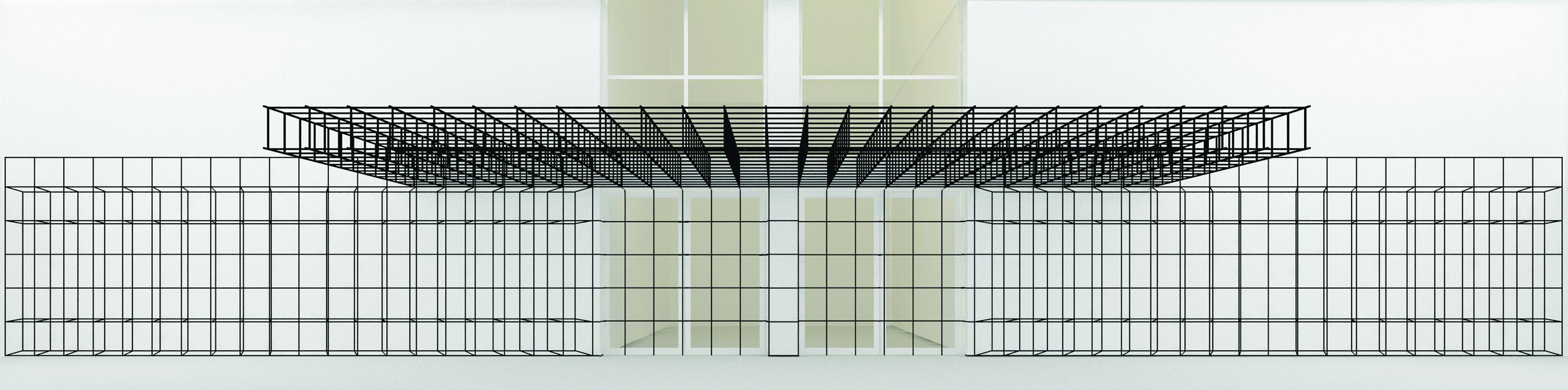 Computer-generated model of a grid-based architectural installation for the MCA Cafe