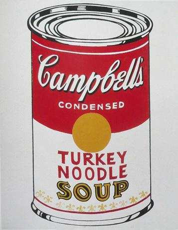 A print of a can of Campbell's condensed turkey noodle soup on a white background.