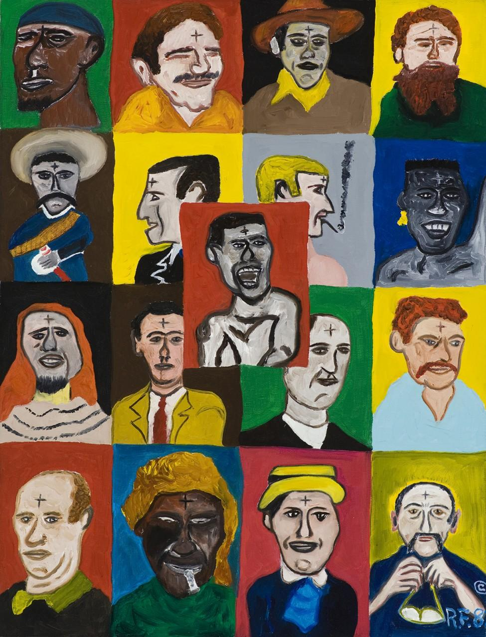 Colorfully painted four-by-four grid of men's portraits, each with a small cross on the forehead