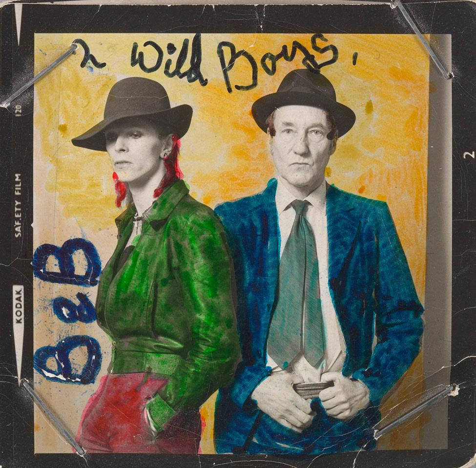 """Black and white portrait of David Bowie and William Burroughs with the background and their clothes drawn in bright colors.""""B & B"""" is handwritten to the left of Bowie, and """"2 Wild Boys,"""" written above their heads."""