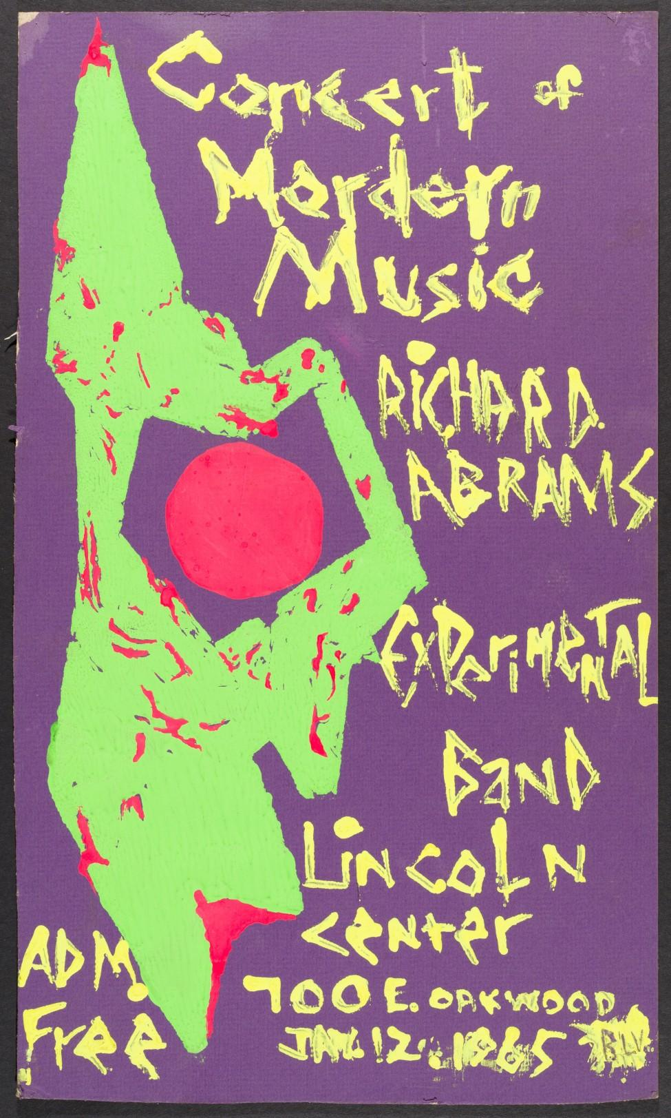 A purple poster with a lime green and red abstract illustration and yellow painted text advertising a concert by Richard Abrams's experimental band at the Lincoln center.