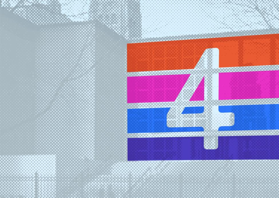 In this grey image rendered in a dot pattern, the front of the MCA is partly covered by four colored bars with negative space forming the numeral four.