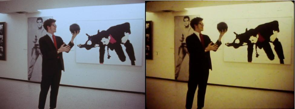 Two identical images are side by side. A man dressed in a suit and tie holds a ball in front of a gallery exhibition. The left photo has a colder ambiance with many blue tones, while the right photo has warmer tones of brown and yellow.