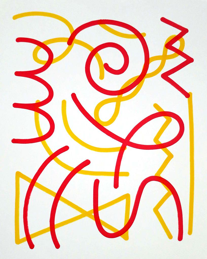 Abstract illustration composed of various red geometric lines that overlap yellow geometric lines