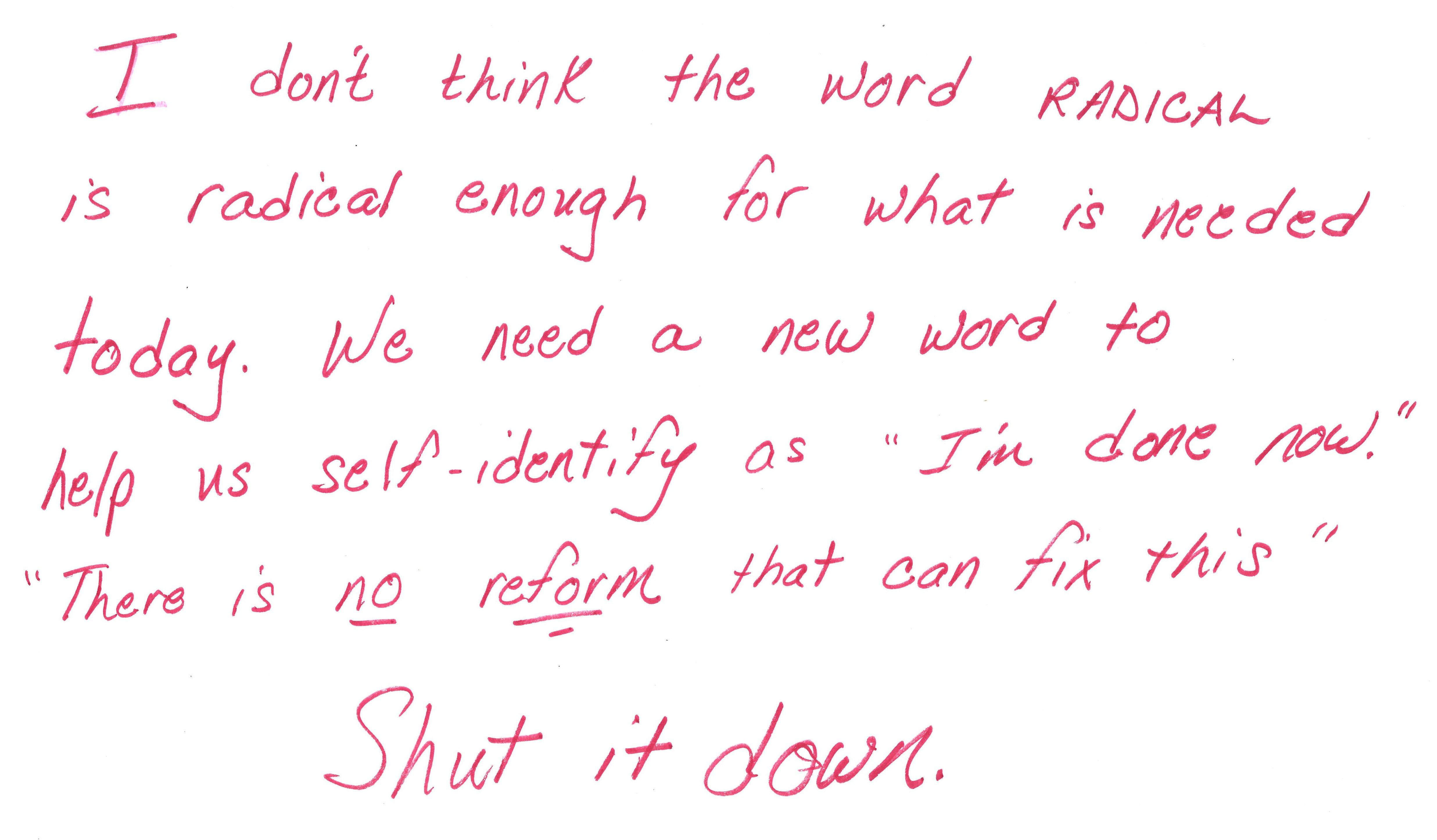 """A red handwritten block of text reads """"I don't think the word RADICAL is radical enough for what is needed today. We need a new word to help us self-identify as 'I'm done now.' 'There is no reform that can fix this' Shut it down."""""""
