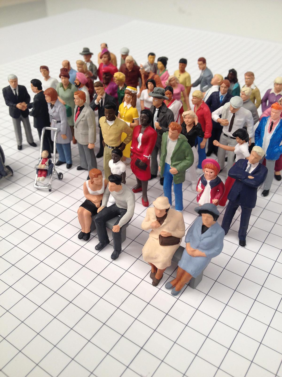 Six rows of colorful figurines of men, women, and children on a floor with a grid of black-and-white squares