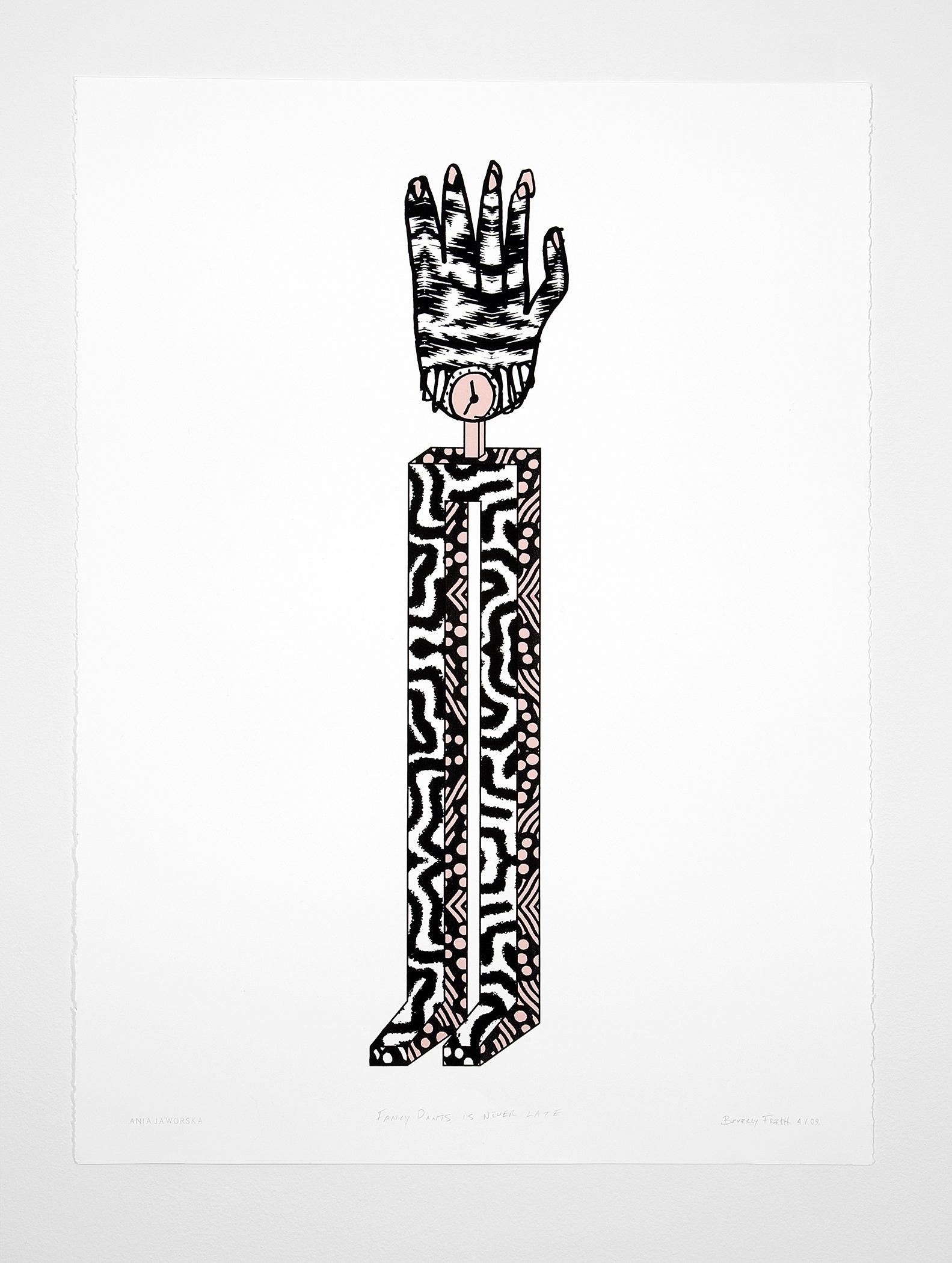 A black, white, and pink print shows a tall, rectilinear pedestal resembling legs, covered in patterned prints and topped by a striped human hand wearing a wristwatch