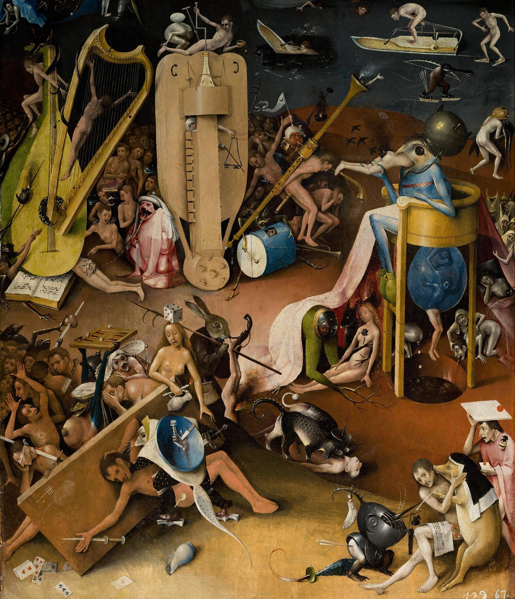 Painting of a bizarre landscape filled with enormous instruments and scenes of human-sized animals and nude people engaging in sexual and violent acts.