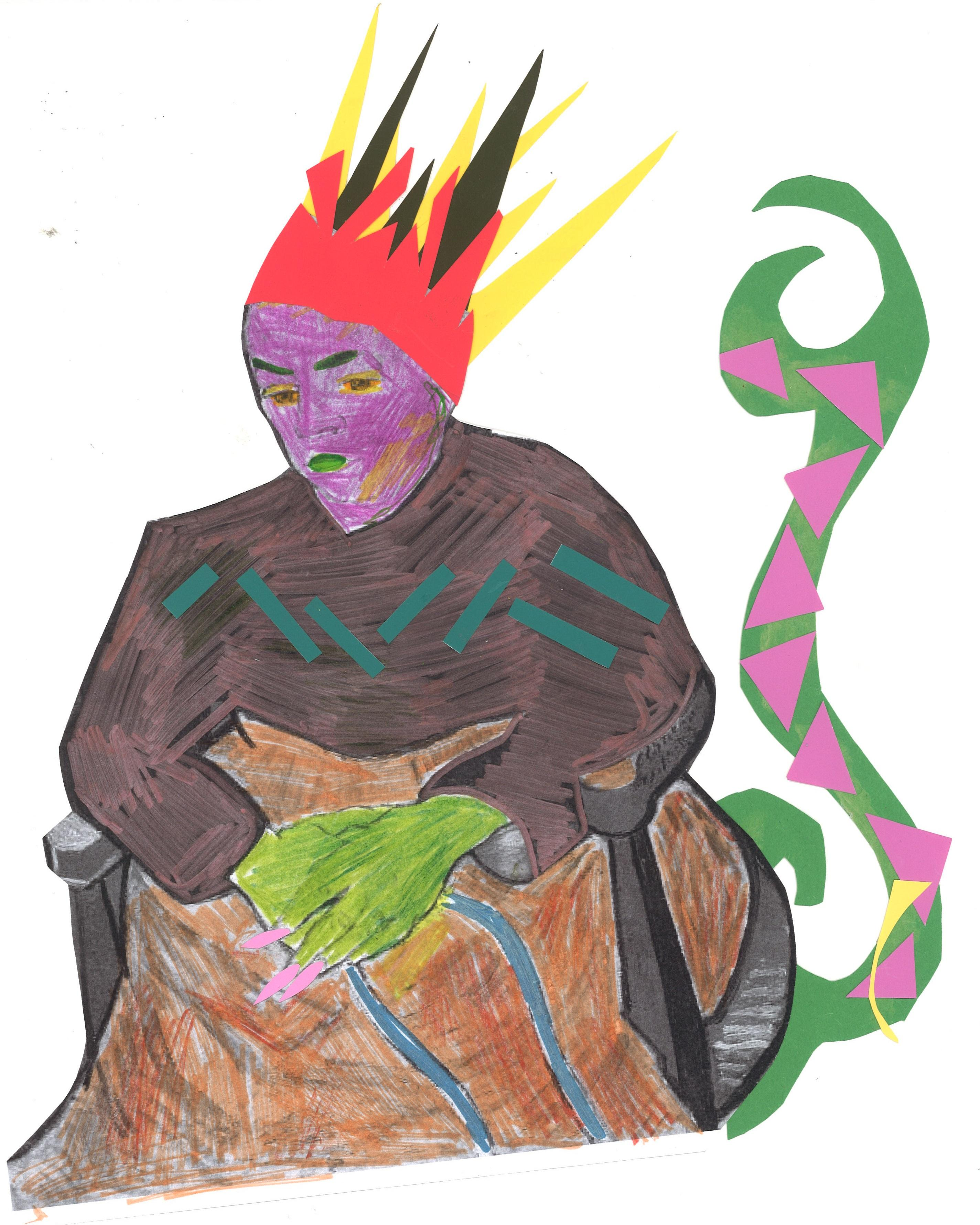 Collage-drawing of a seated person with a purple face, a green tail with pink spikes, and green hands with long pink nails, and wearing a brown shirt, orange-brown blanket, and a spiky, three-tiered crown