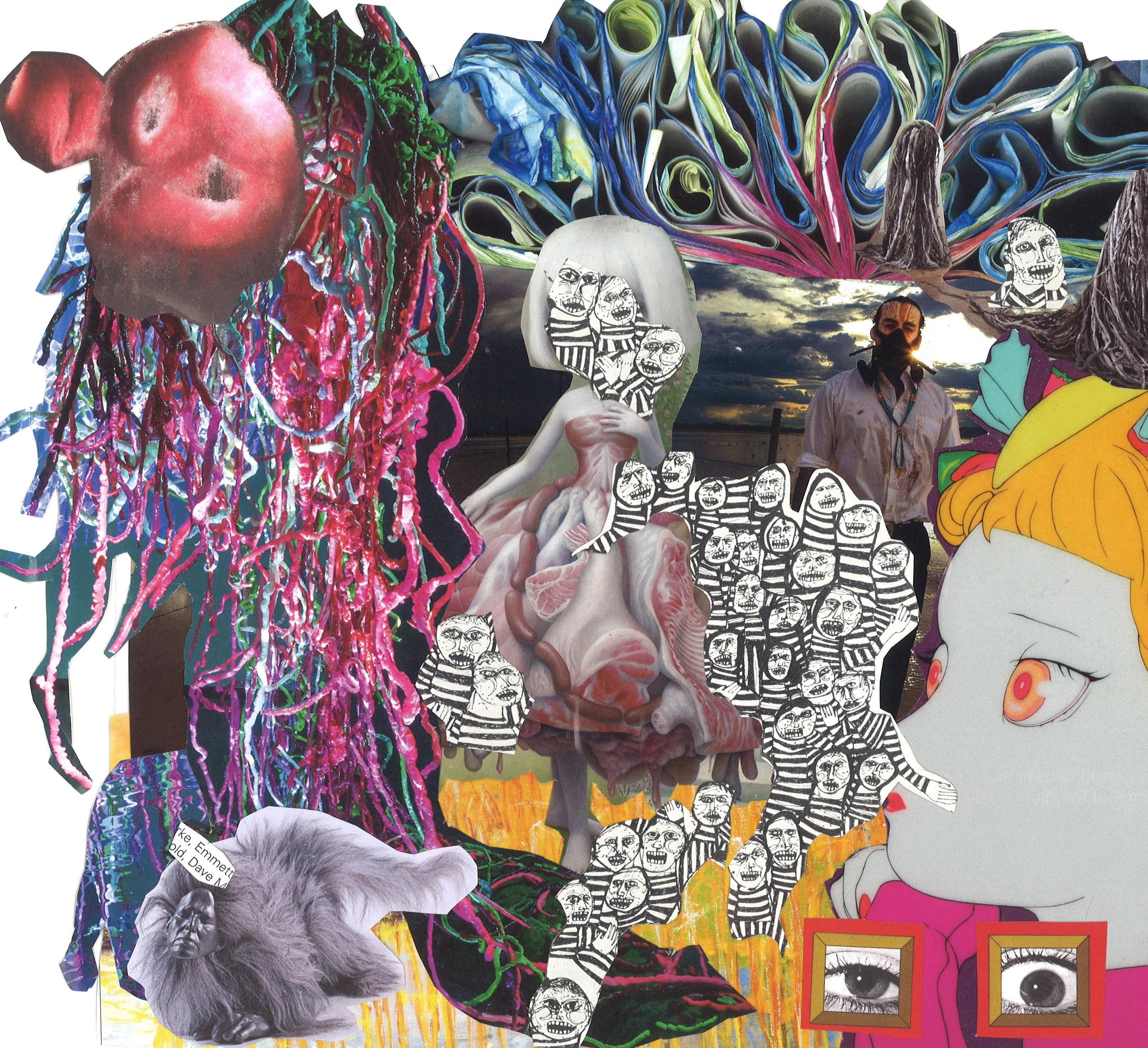 This colorful collage of cutout photographs and drawings includes images of a pom-pom, folded paper, black-and-white drawings, and a man wearing a half-face respirator in front of a cloudy sky.