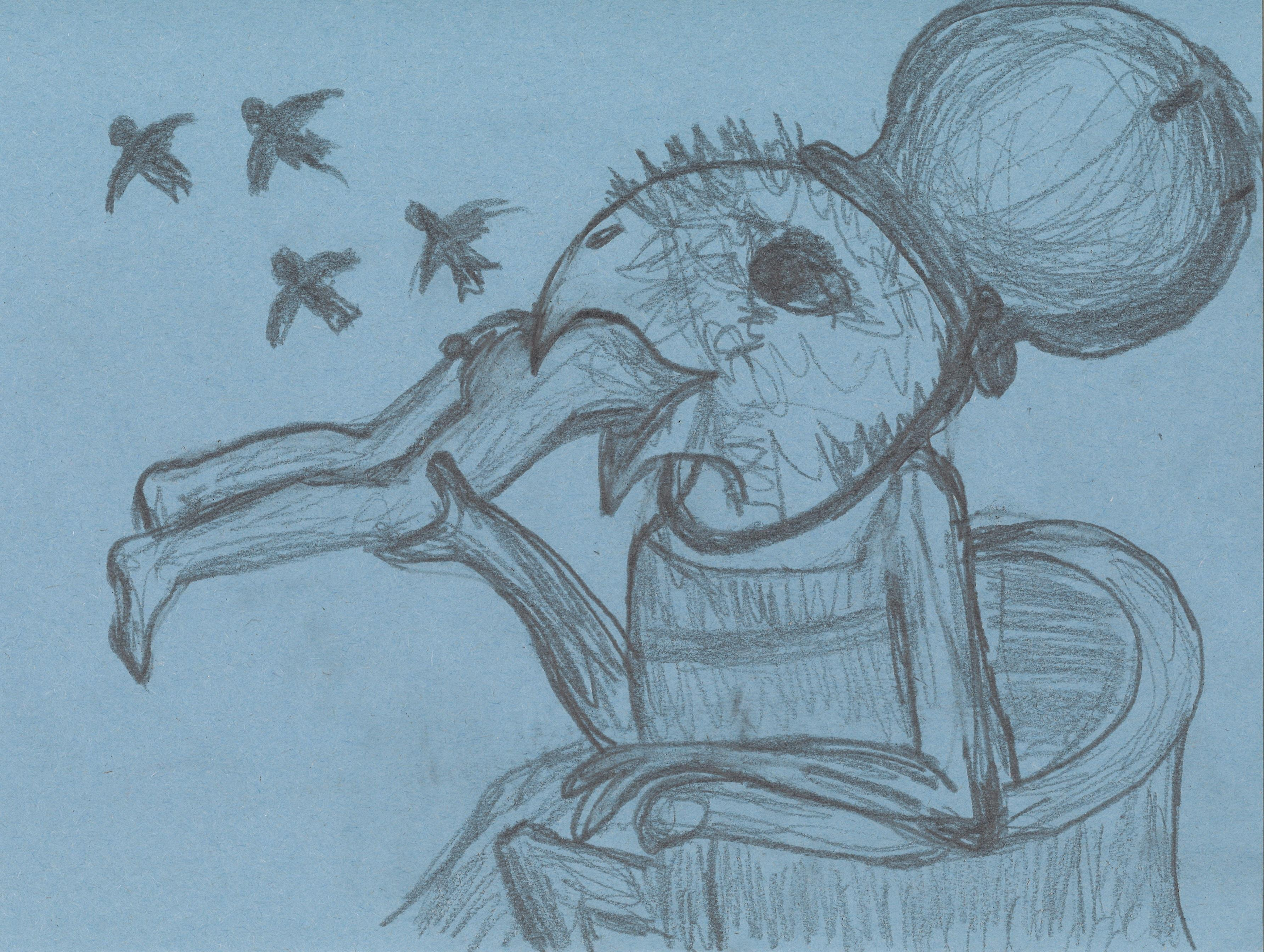 Pencil drawing on blue paper of a hybrid creature with a bird head and human body ingesting a nude human as four birds fly above them