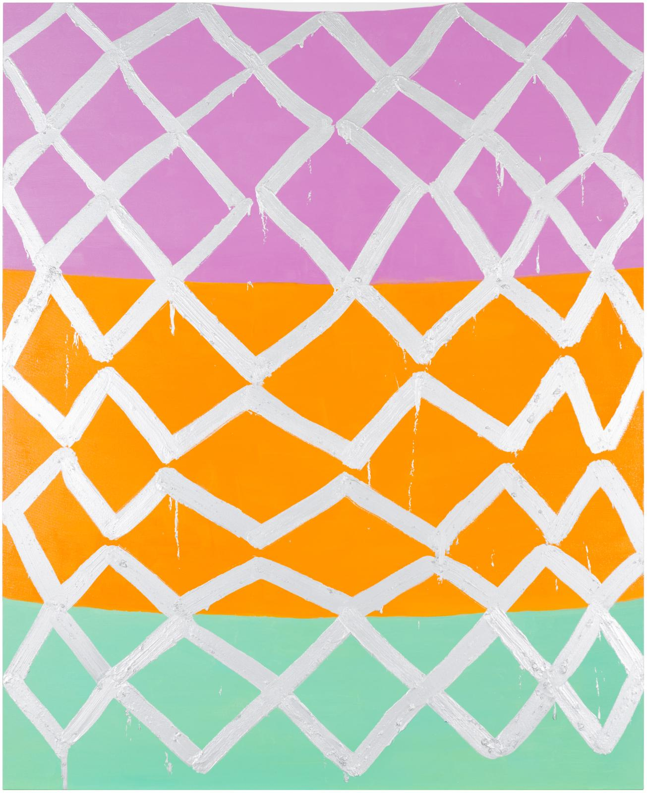 An irregular zigzagging grid of thick silver brushstrokes overlaps three broad planes of color, vertically stacked from top to bottom: light pink-purple, tangerine orange, and teal.