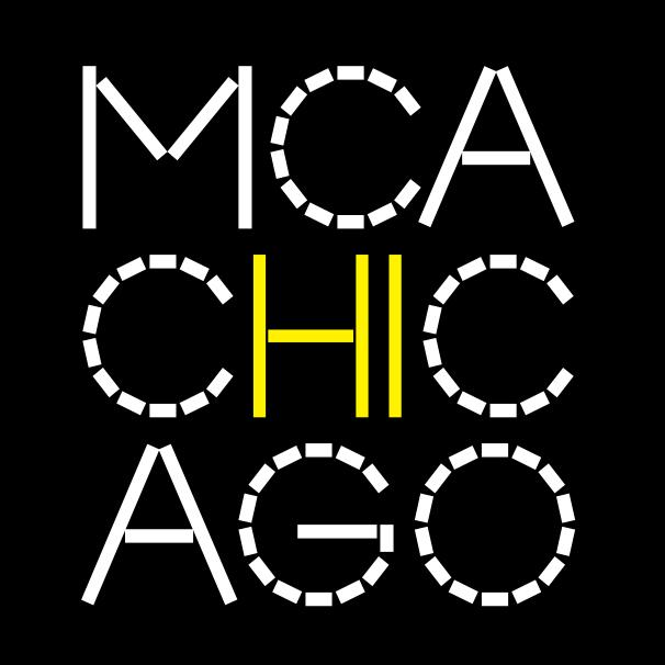 """""""MCA Chicago"""" is spelled out in white letters on a black background in three lines, with the letter H and I highlighted in yellow at the center, as if the logo is saying """"hi."""""""