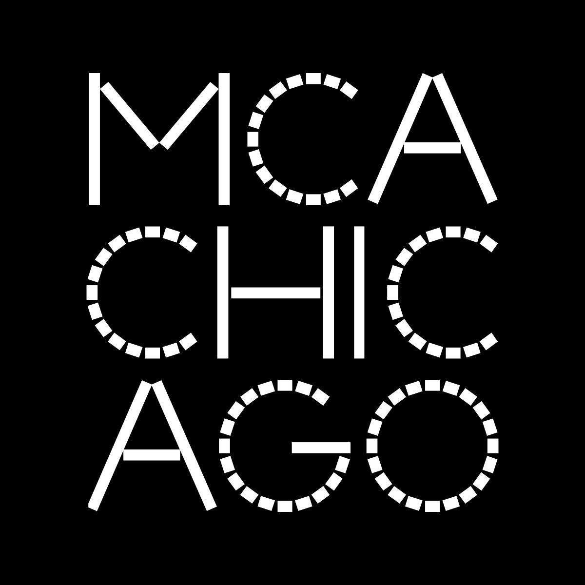 The new MCA Chicago logo is featured here, with white font on a black backdrop. The new font is angular, with a sequence of straight bars used to create what would otherwise be rounded edges.