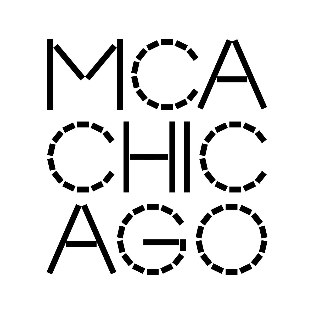 The new MCA Chicago logo is featured here, with black font on a white backdrop. The new font is angular, with a sequence of straight bars used to create what would otherwise be rounded edges.
