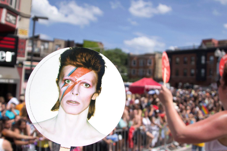 David Bowie hand fan at Pride Parade, 2014.