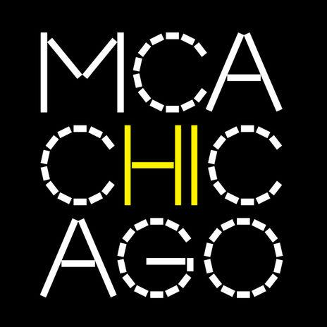 The new MCA Chicago logo is featured here, with white font on a black backdrop. The 'hi' of 'Chicago' is highlighted in yellow, and is directly in the center of the page. The new font is angular, with a sequence of straight bars used to create what would otherwise be rounded edges.