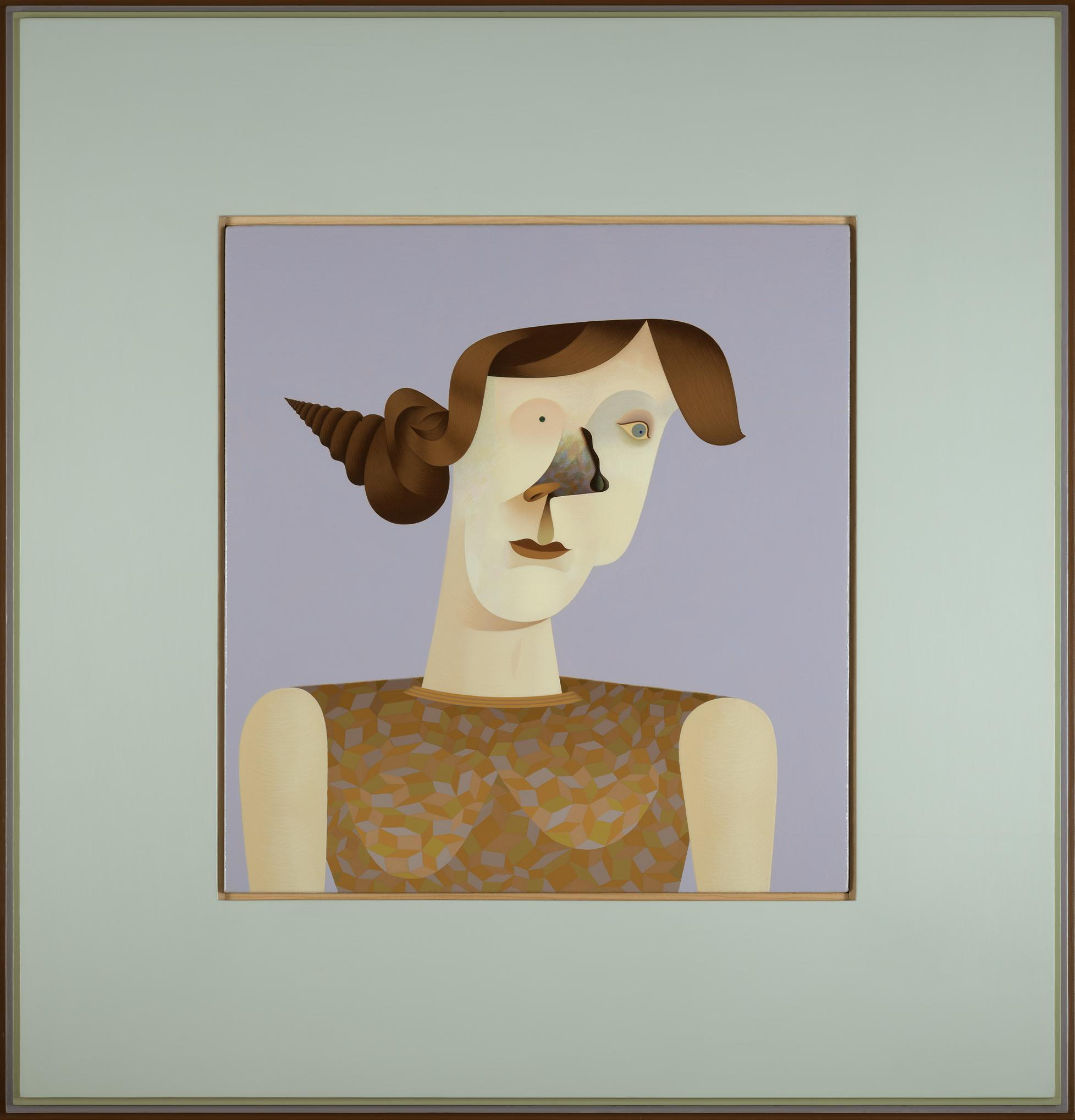 In this painted portrait of a light-skinned woman, one eye is a black dot, a black squiggly line forms the ridge of a dark patterned nose, and her brown hair is done up in a bun that twists to a point, reminiscent of a conch shell.